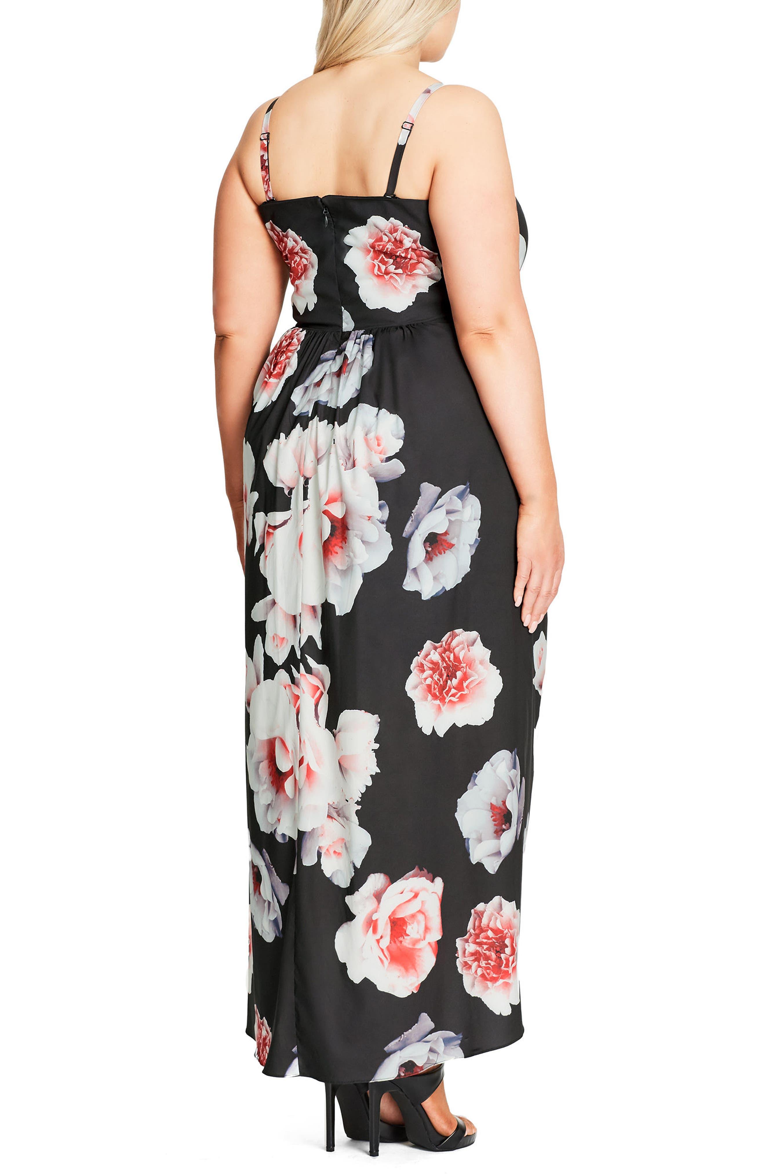 CITY CHIC, 'Open Rose' Print Tulip Hem Maxi Dress, Alternate thumbnail 2, color, 001