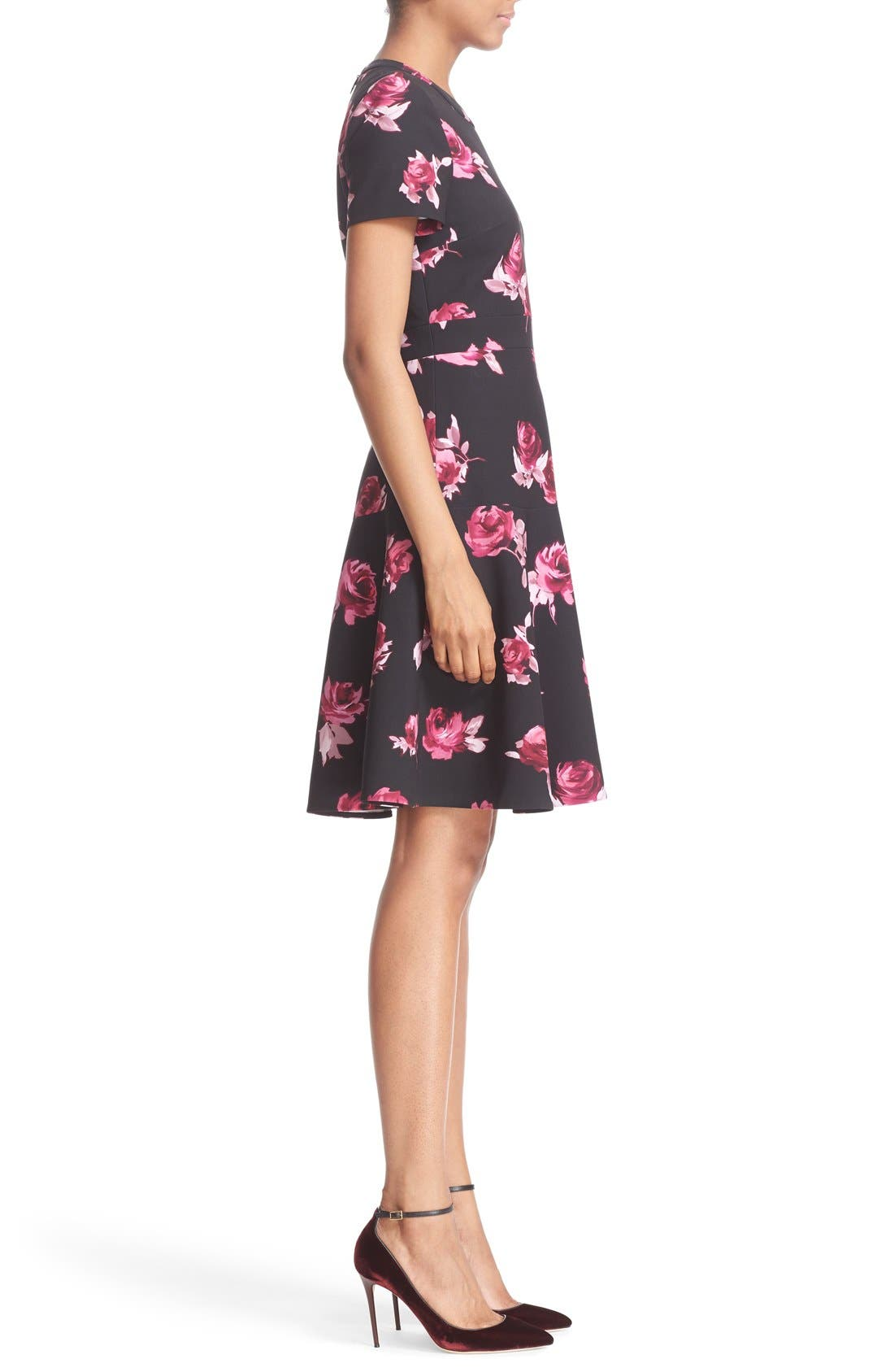 KATE SPADE NEW YORK, 'encore rose' crepe fit & flare dress, Alternate thumbnail 2, color, 001