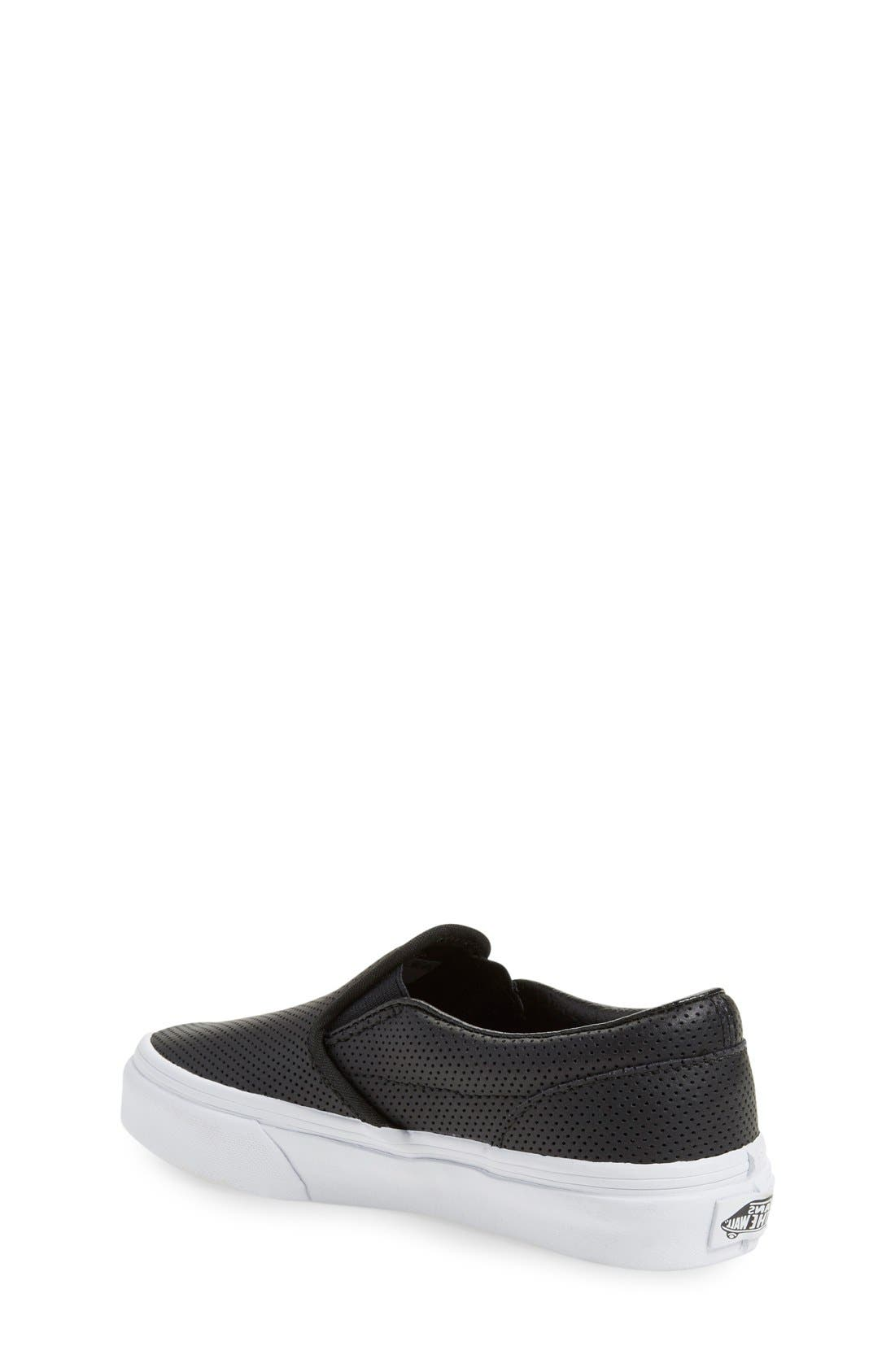 VANS, 'Classic' Slip-On Sneaker, Alternate thumbnail 2, color, BLACK LEATHER