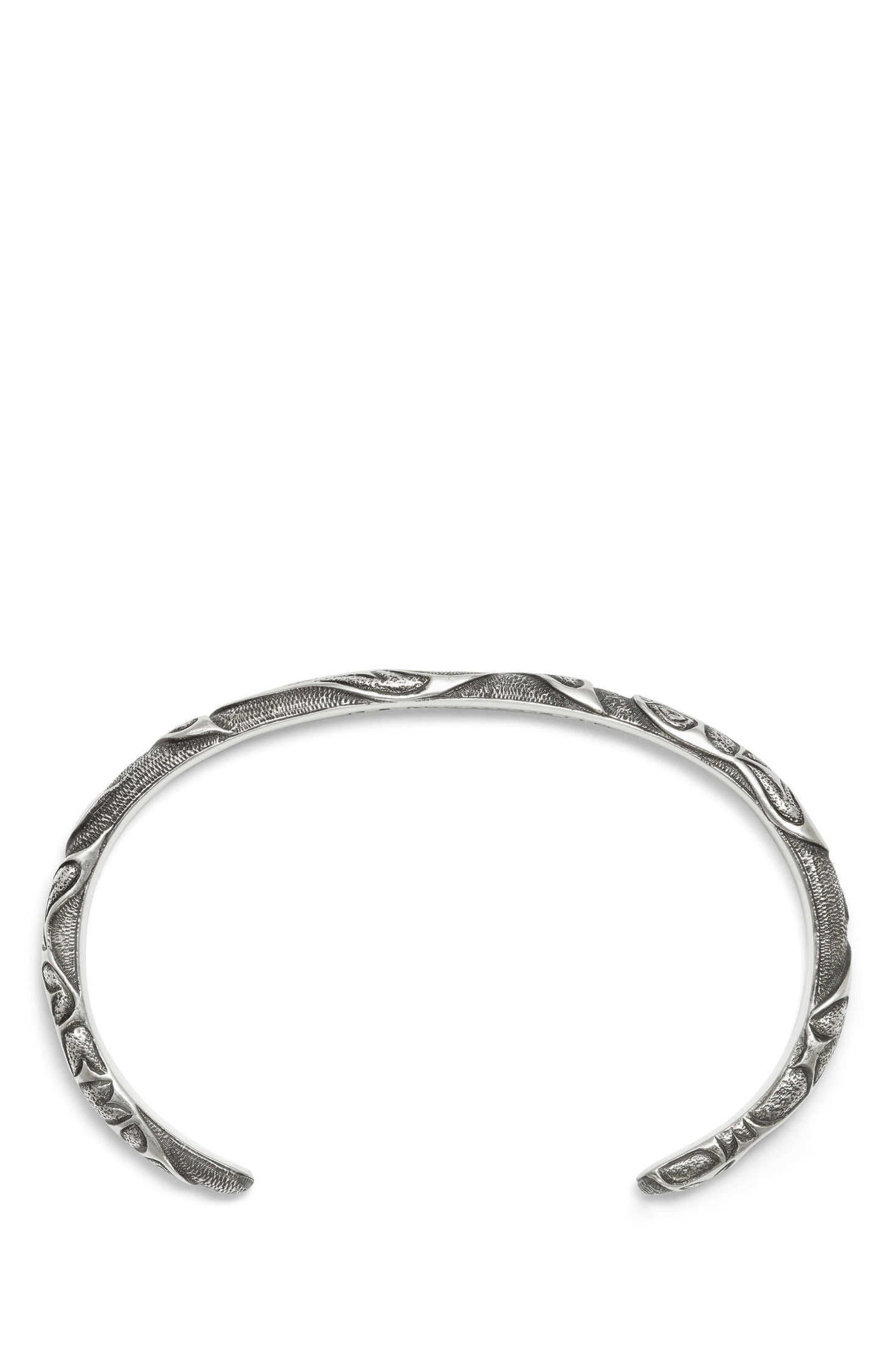 DAVID YURMAN, Northwest Narrow Cuff Bracelet, Alternate thumbnail 2, color, SILVER