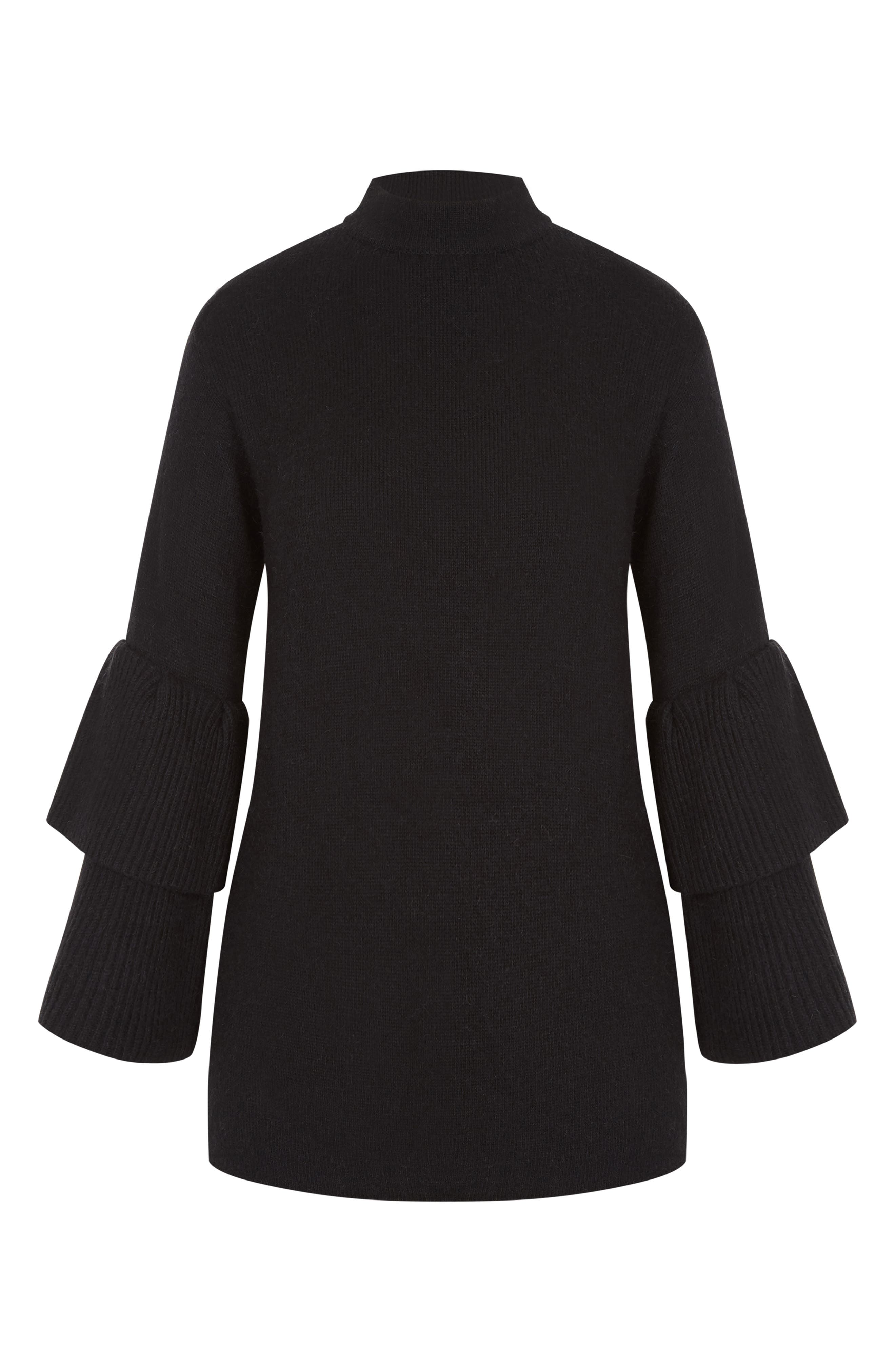 CITY CHIC, Tiered Sleeve Sweater, Alternate thumbnail 3, color, BLACK