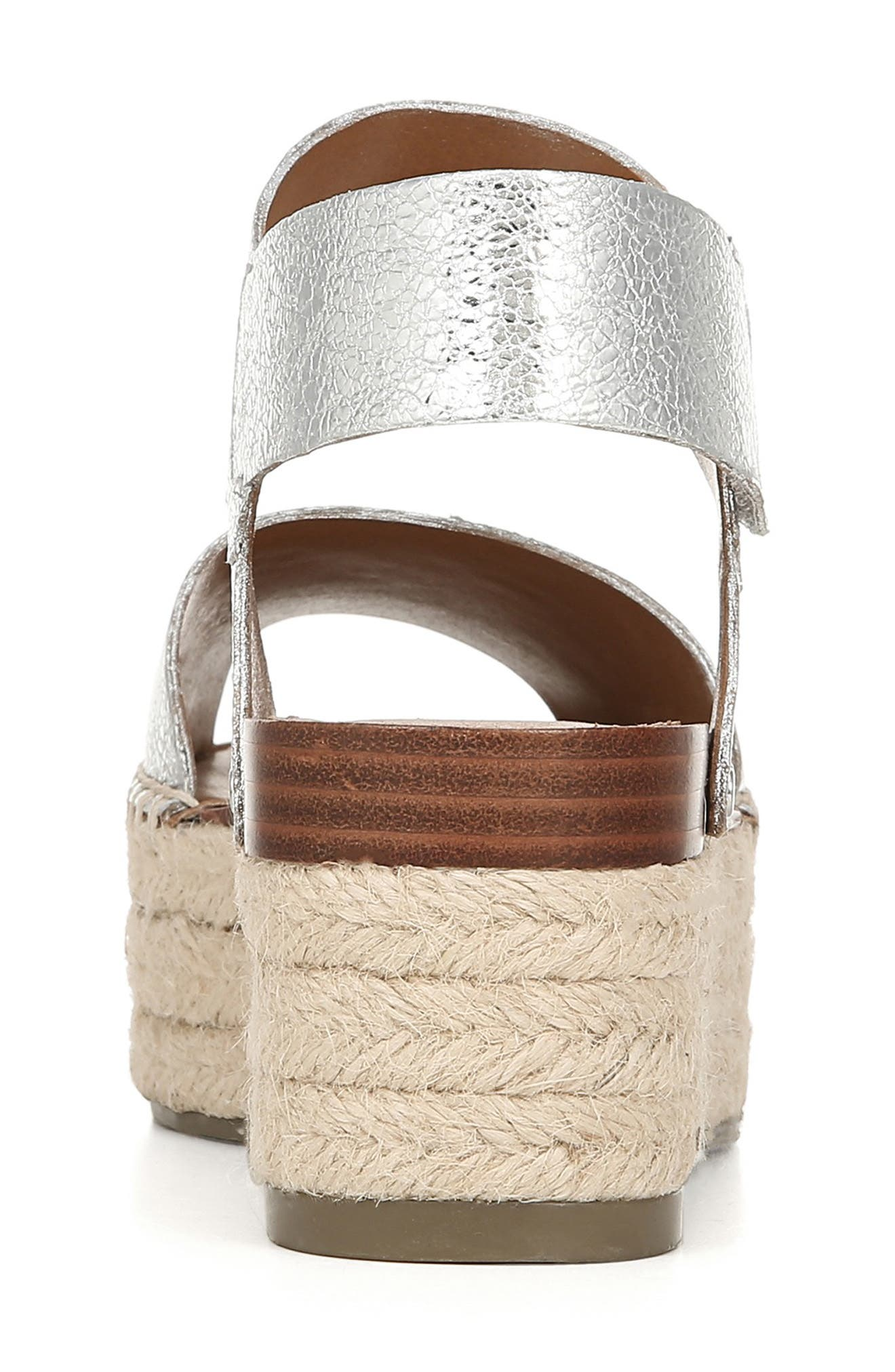 SARTO BY FRANCO SARTO, Leo Platform Espadrille Sandal, Alternate thumbnail 7, color, SILVER LEATHER