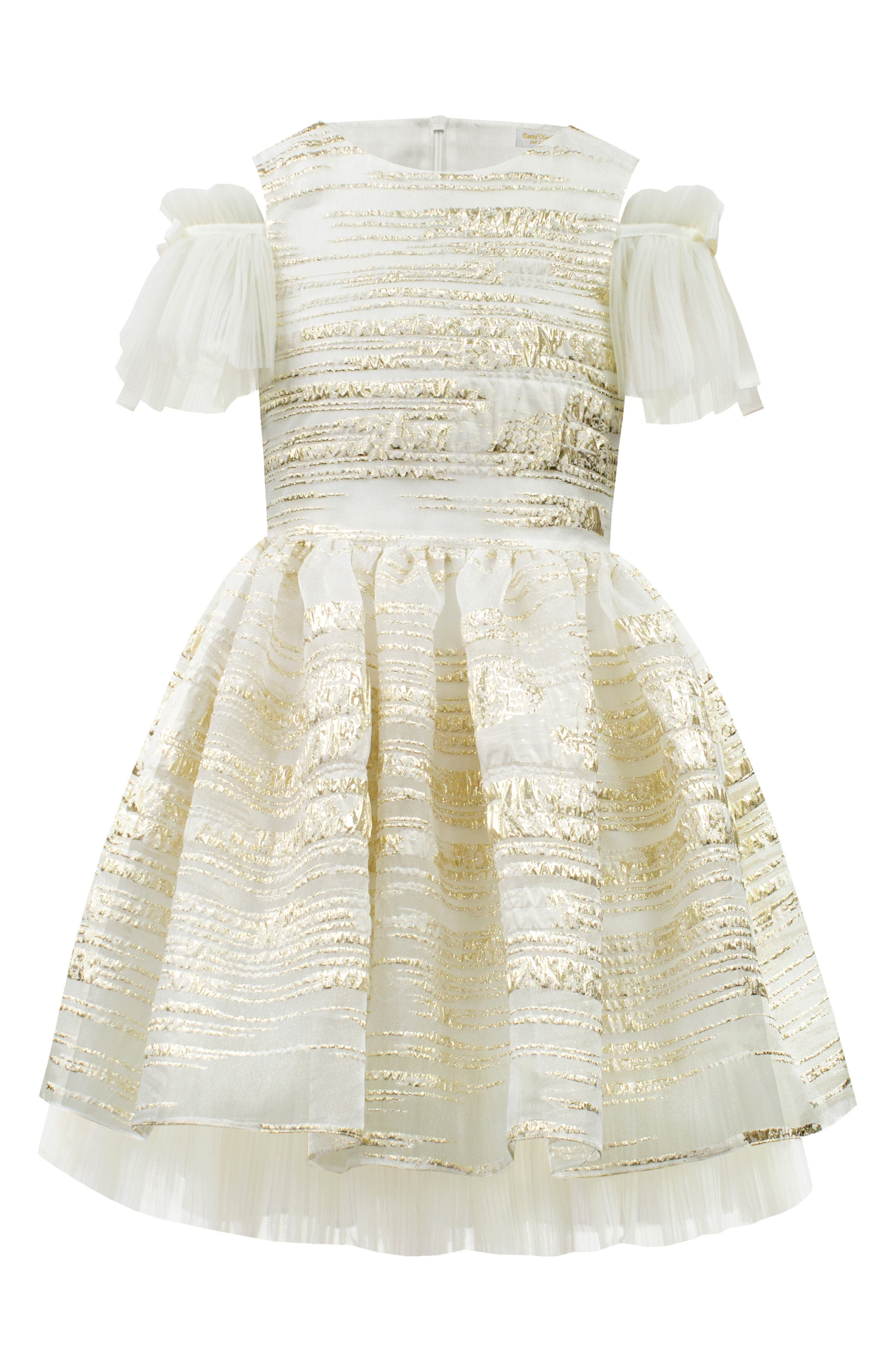 Girls David Charles Cold Shoulder Metallic Organza Party Dress Size 8Y  Metallic