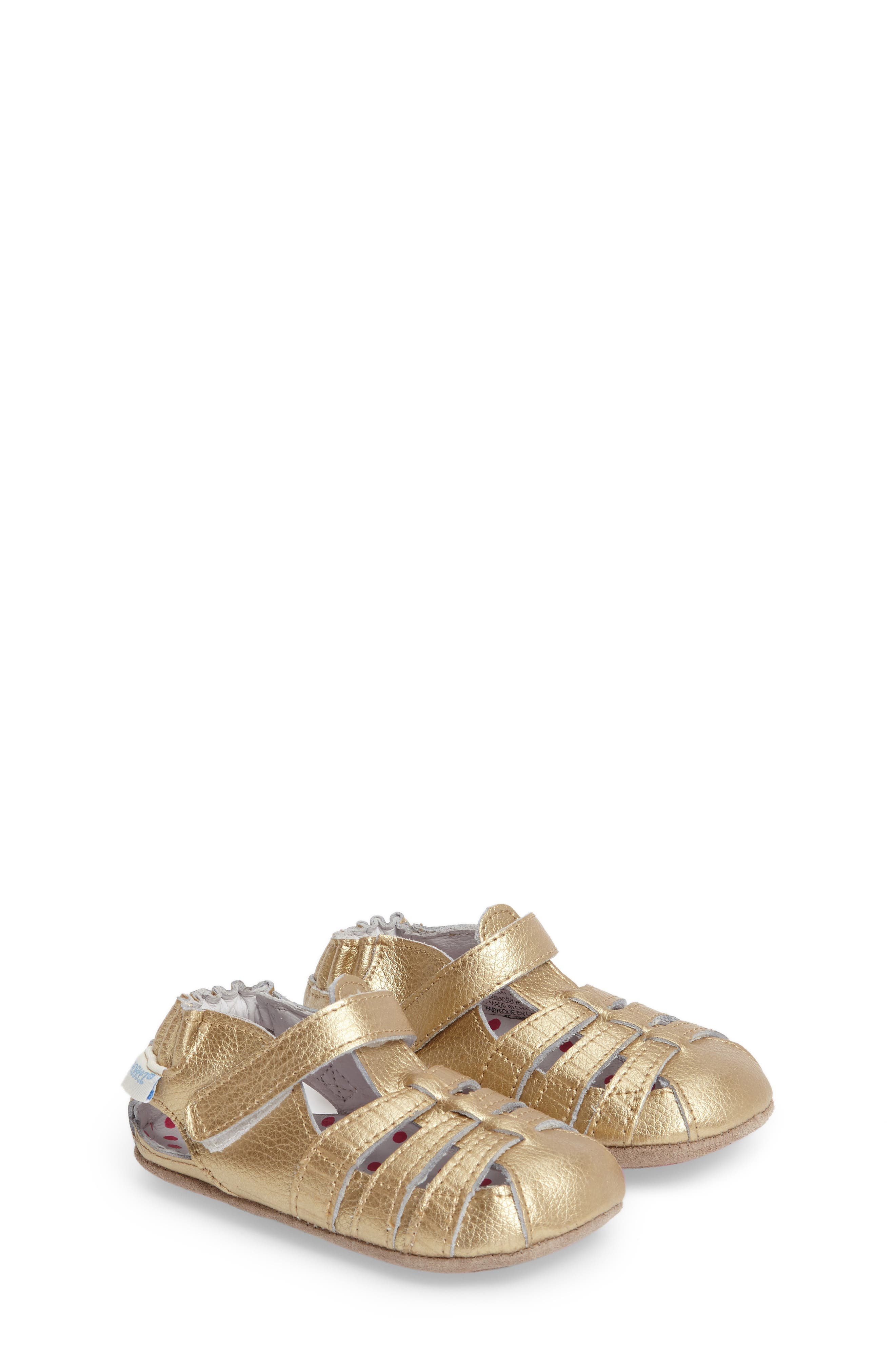 ROBEEZ<SUP>®</SUP>, Paris Crib Shoe, Main thumbnail 1, color, GOLD