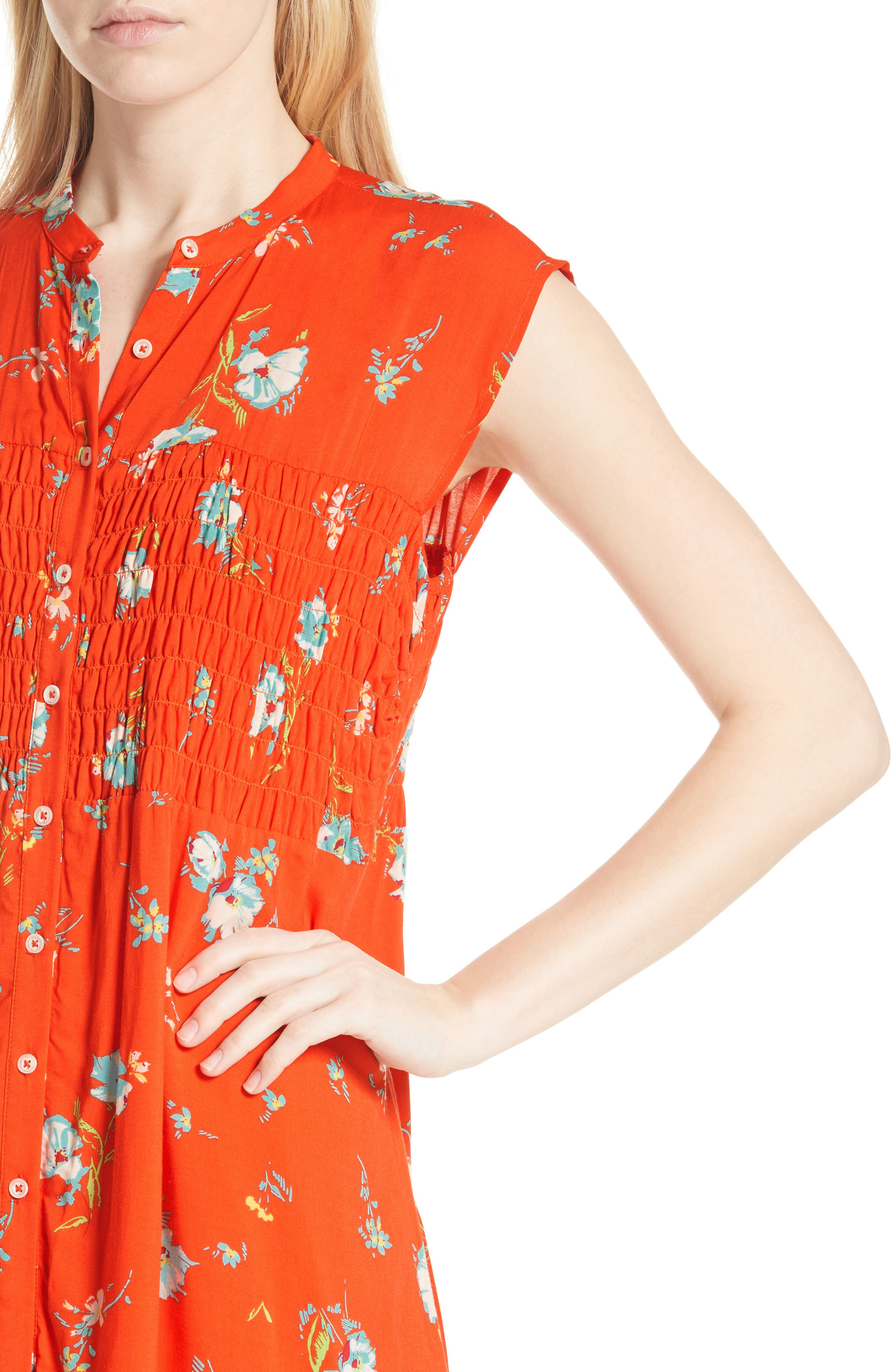 FREE PEOPLE, Greatest Day Smocked Minidress, Alternate thumbnail 5, color, RED