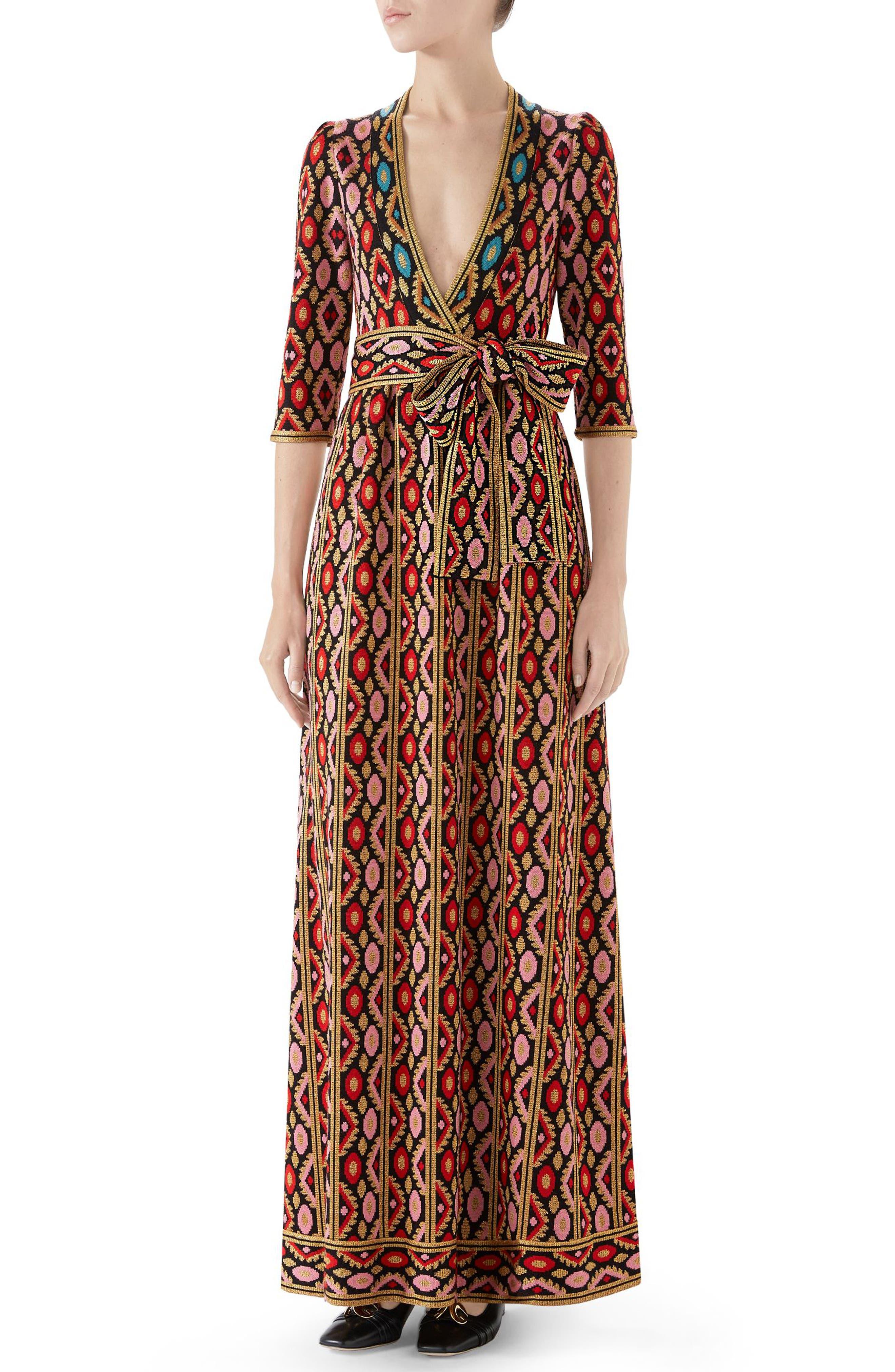 3511d7f4b84 Gucci Metallic Jacquard Maxi Dress