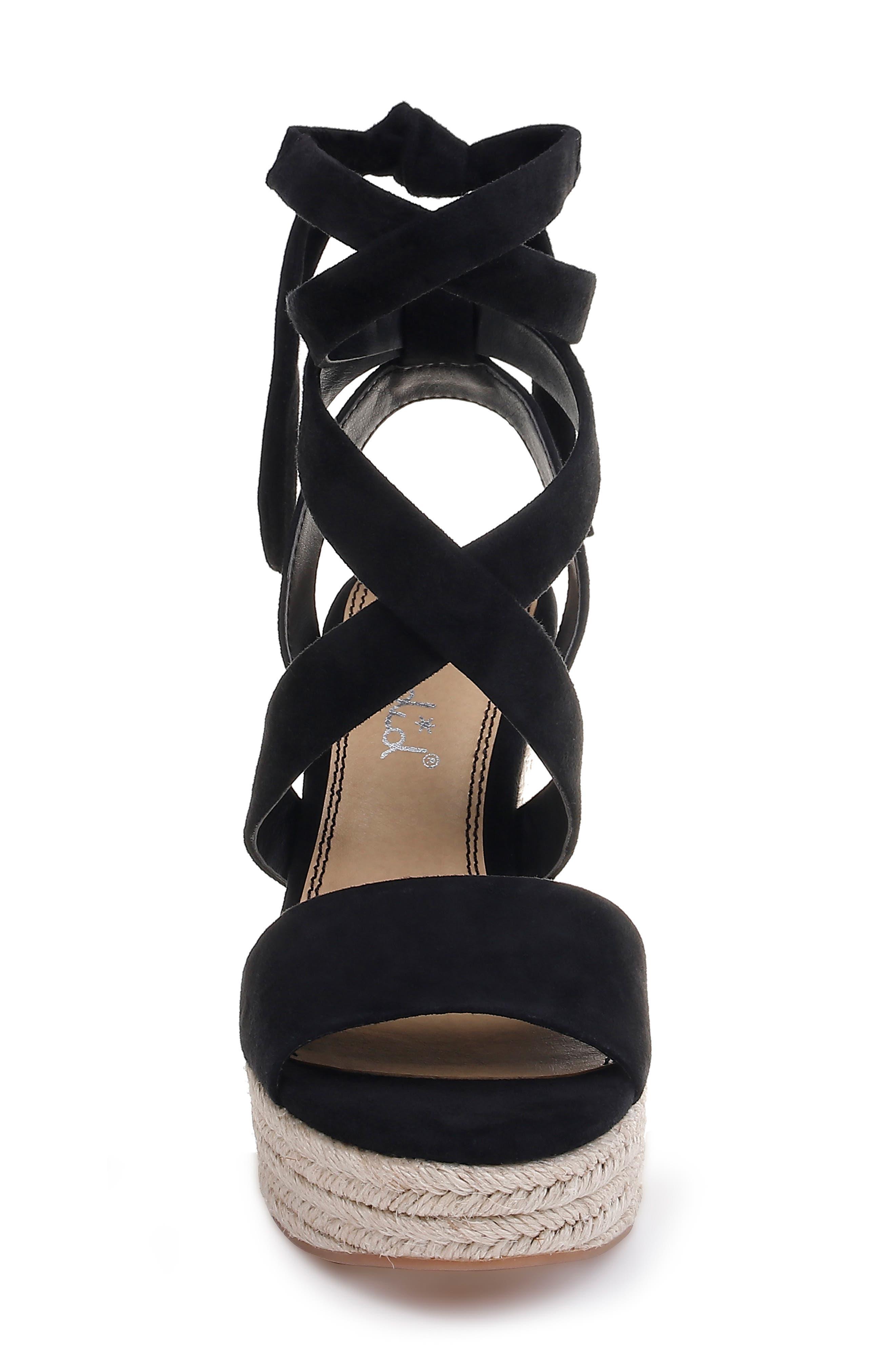 SPLENDID, Tessie Ankle Wrap Wedge Sandal, Alternate thumbnail 4, color, BLACK SUEDE