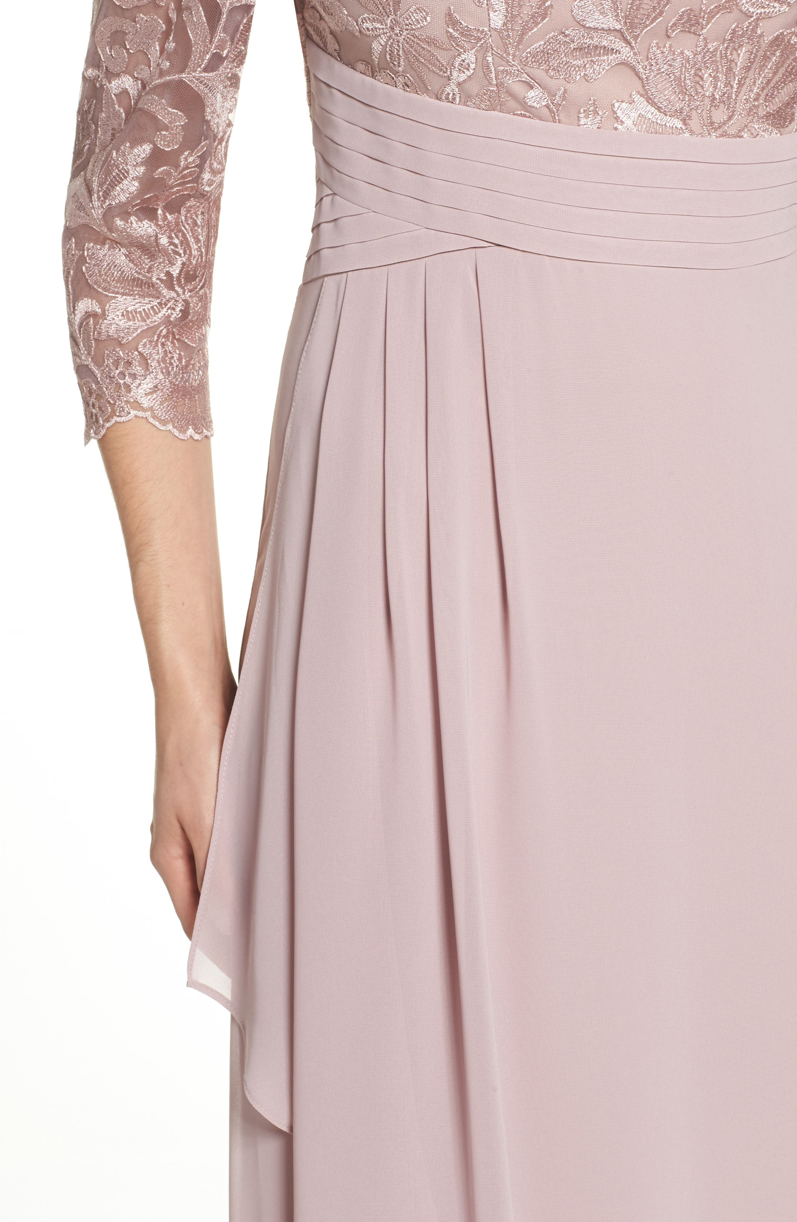 ALEX EVENINGS, Embroidered A-Line Gown, Alternate thumbnail 4, color, 695