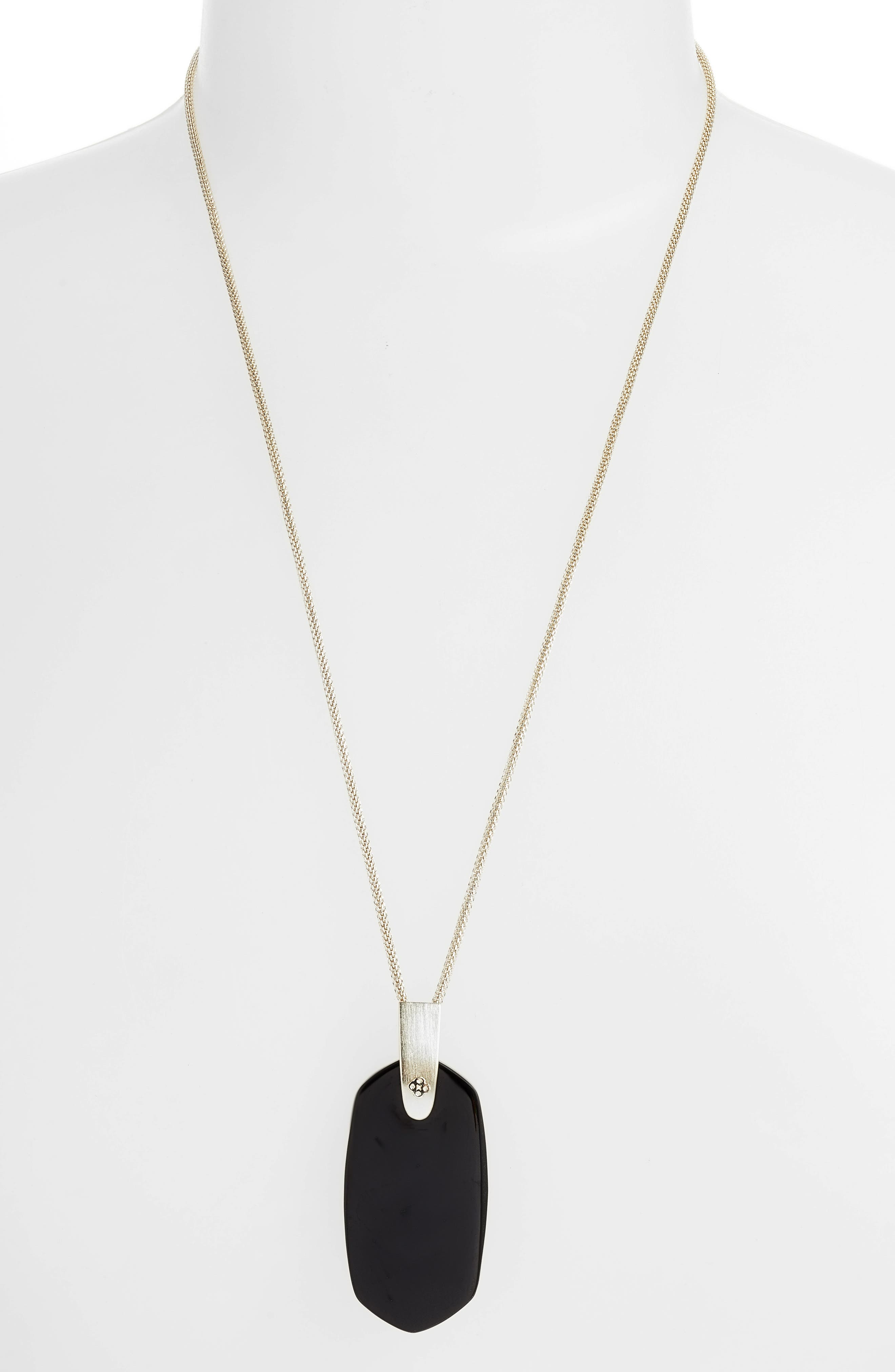 KENDRA SCOTT, Inez Pendant Necklace, Main thumbnail 1, color, BLACK/ GOLD