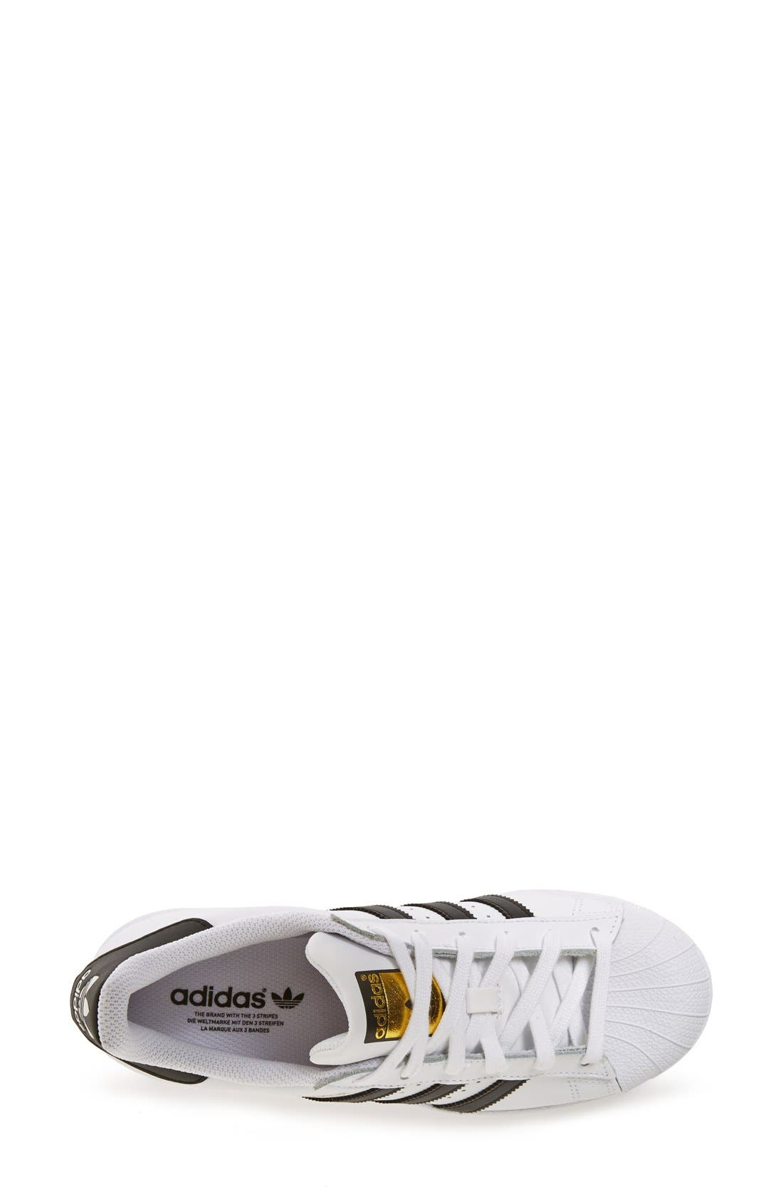 ADIDAS, Superstar Sneaker, Alternate thumbnail 9, color, WHITE/ BLACK