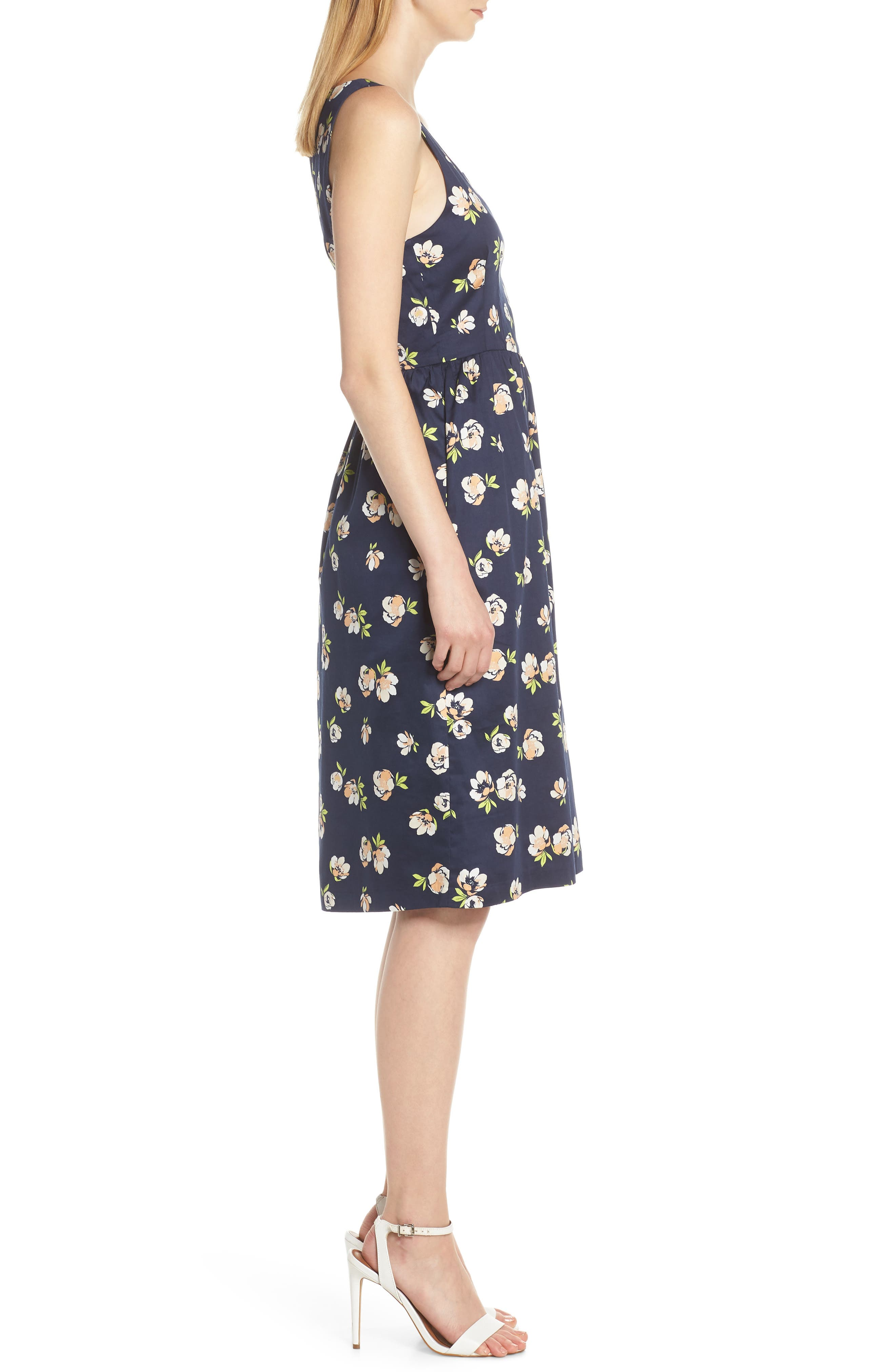 CHARLES HENRY, Sleeveless Fit & Flare Dress, Alternate thumbnail 4, color, NAVY PEACH FLORAL