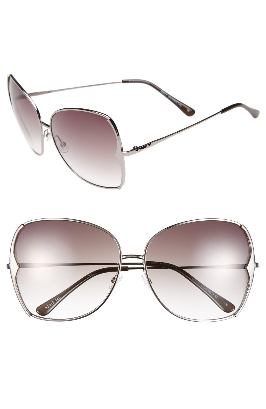 BCBGMAXAZRIA, 63mm Butterfly Sunglasses, Main thumbnail 1, color, 020