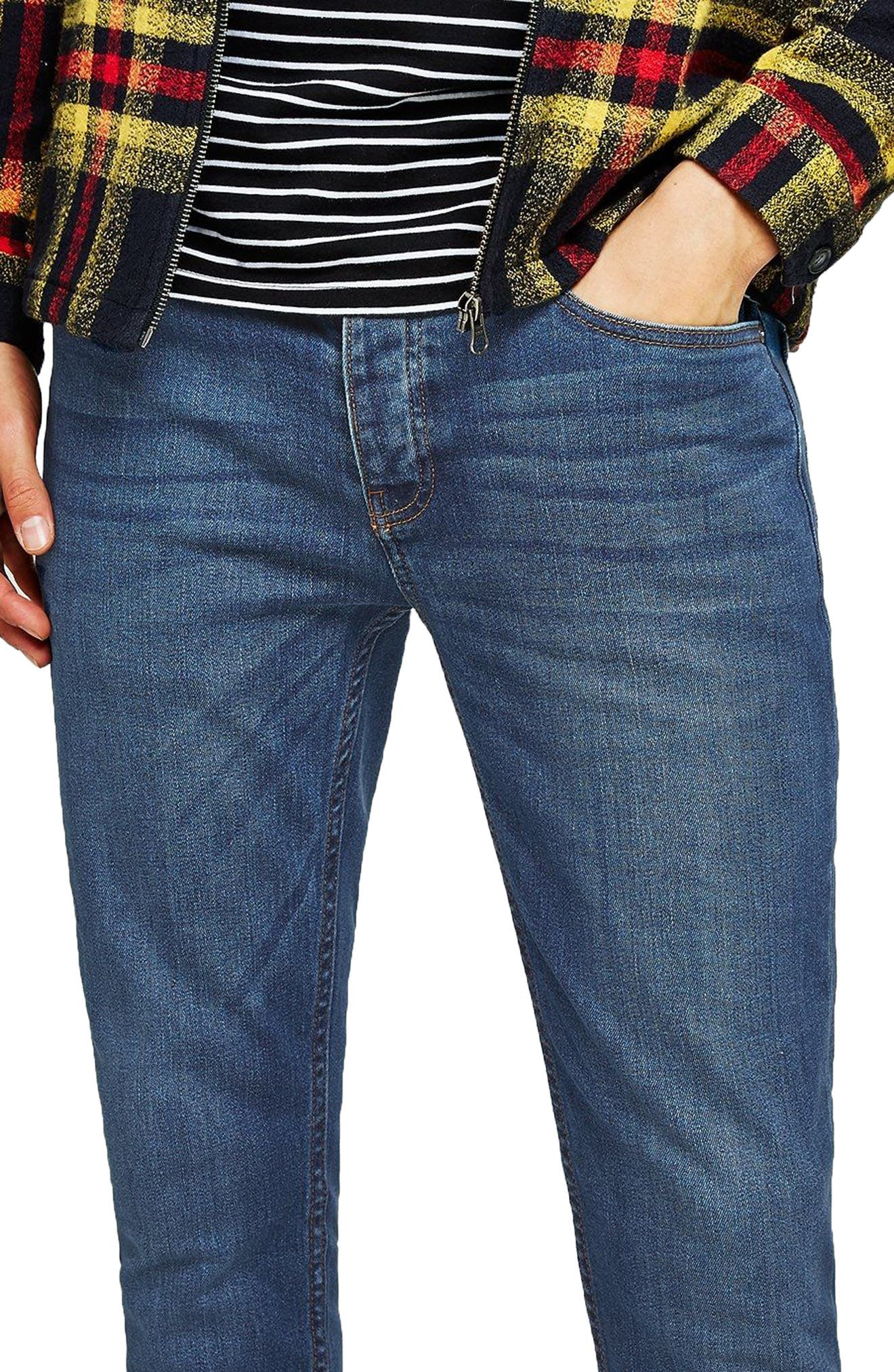 TOPMAN, Stretch Skinny Fit Jeans, Main thumbnail 1, color, BLUE
