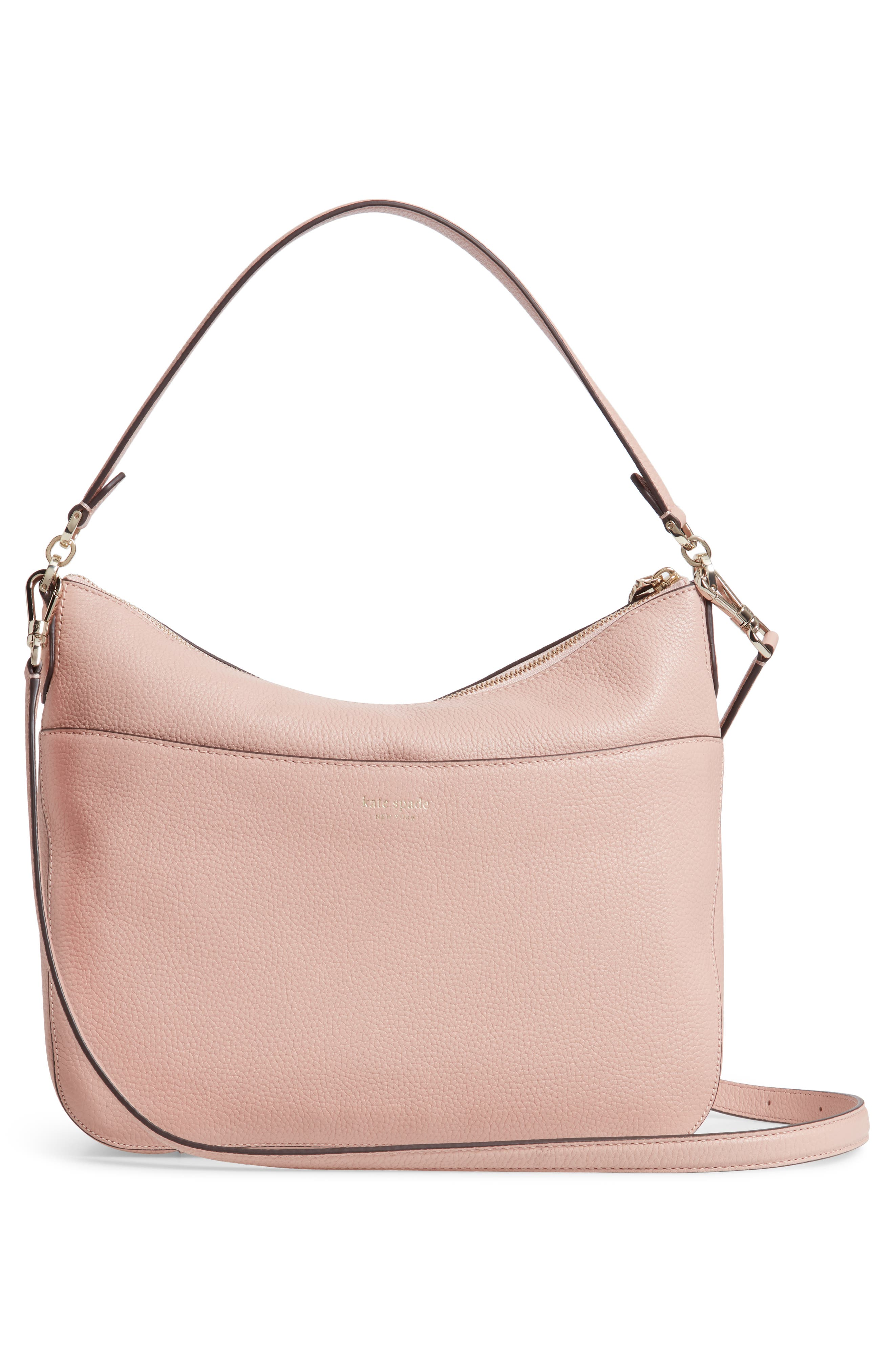 KATE SPADE NEW YORK, medium polly leather shoulder bag, Alternate thumbnail 3, color, FLAPPER PINK