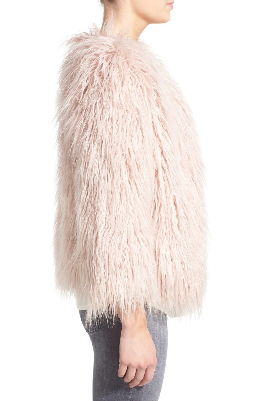 PAM & GELA, 'Mongolian' Faux Fur Coat, Alternate thumbnail 5, color, 650
