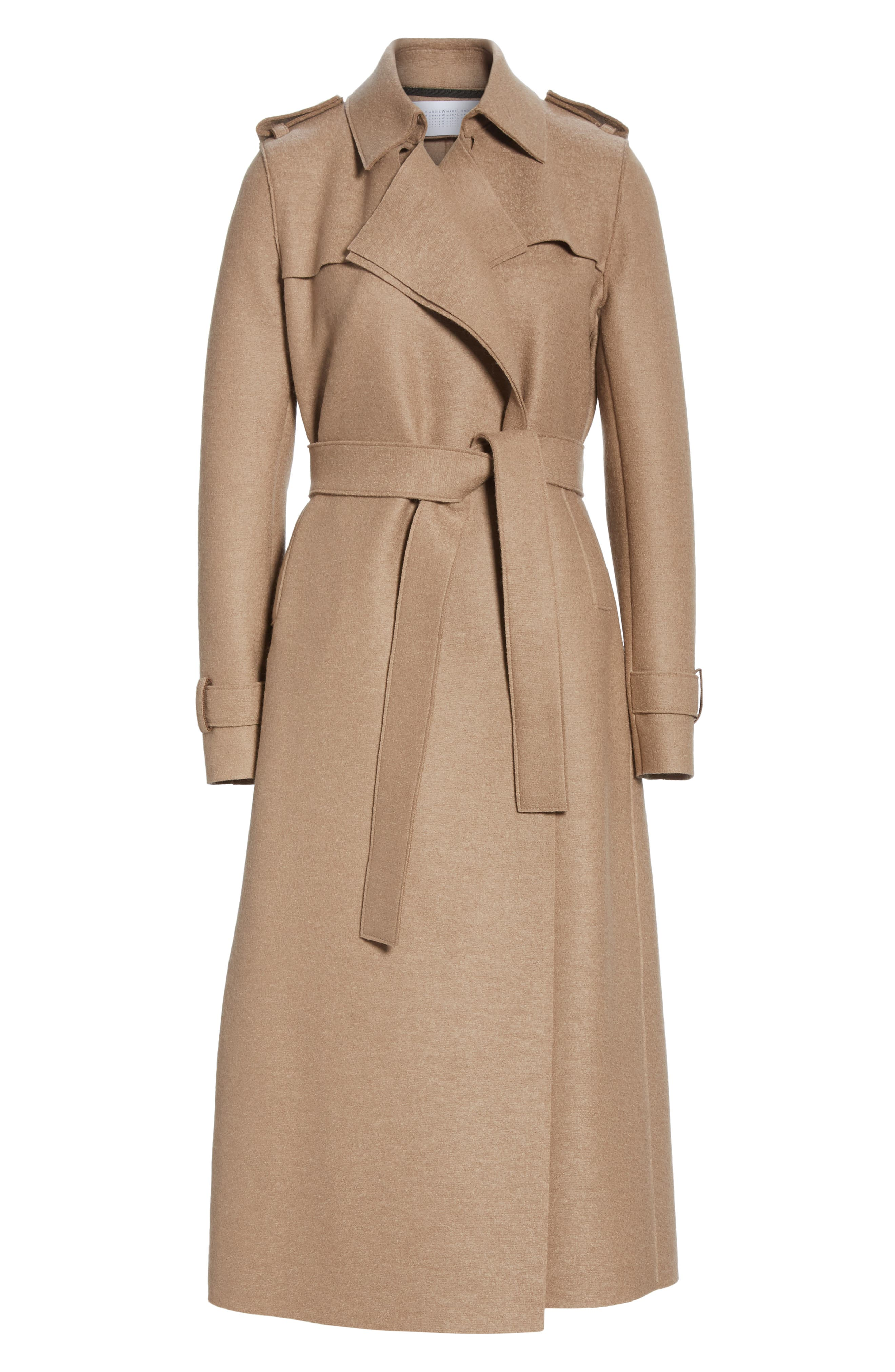 HARRIS WHARF LONDON, Long Belted Trench, Alternate thumbnail 7, color, CAMEL