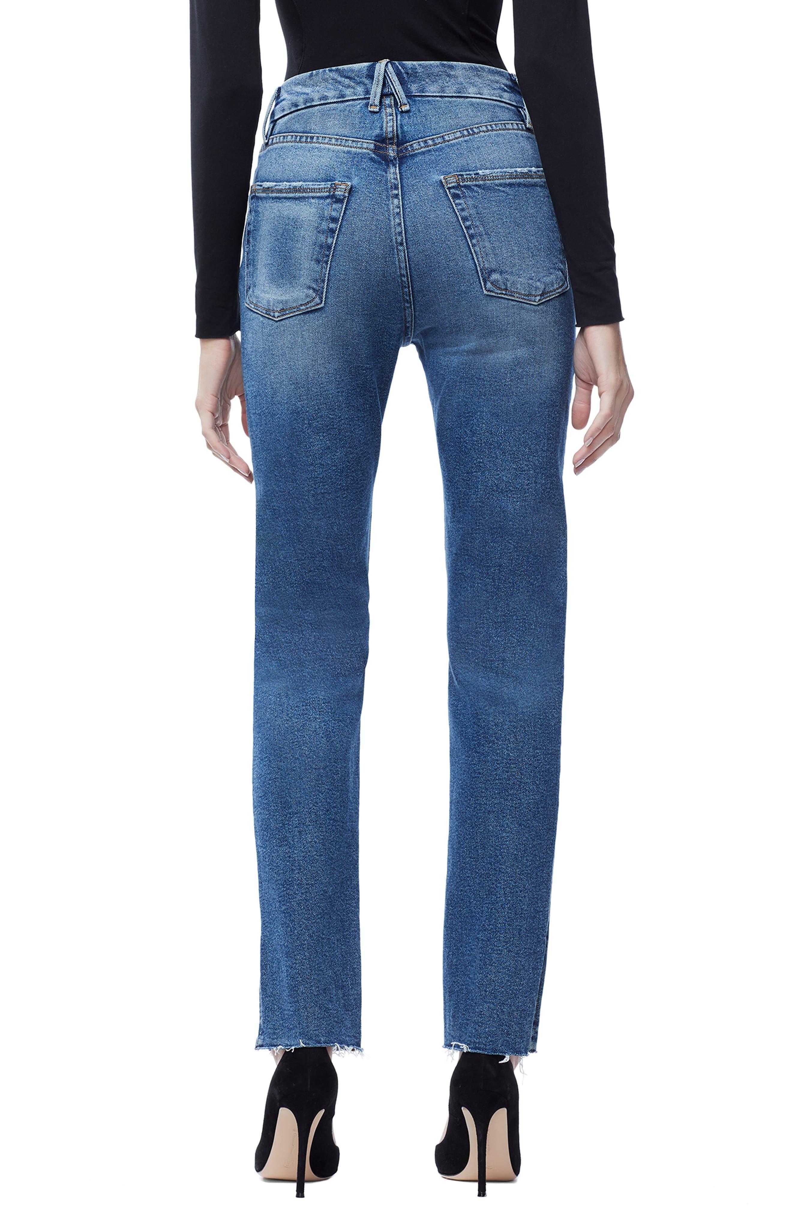 GOOD AMERICAN, Good Boy Raw Hem Boyfriend Jeans, Alternate thumbnail 3, color, 401