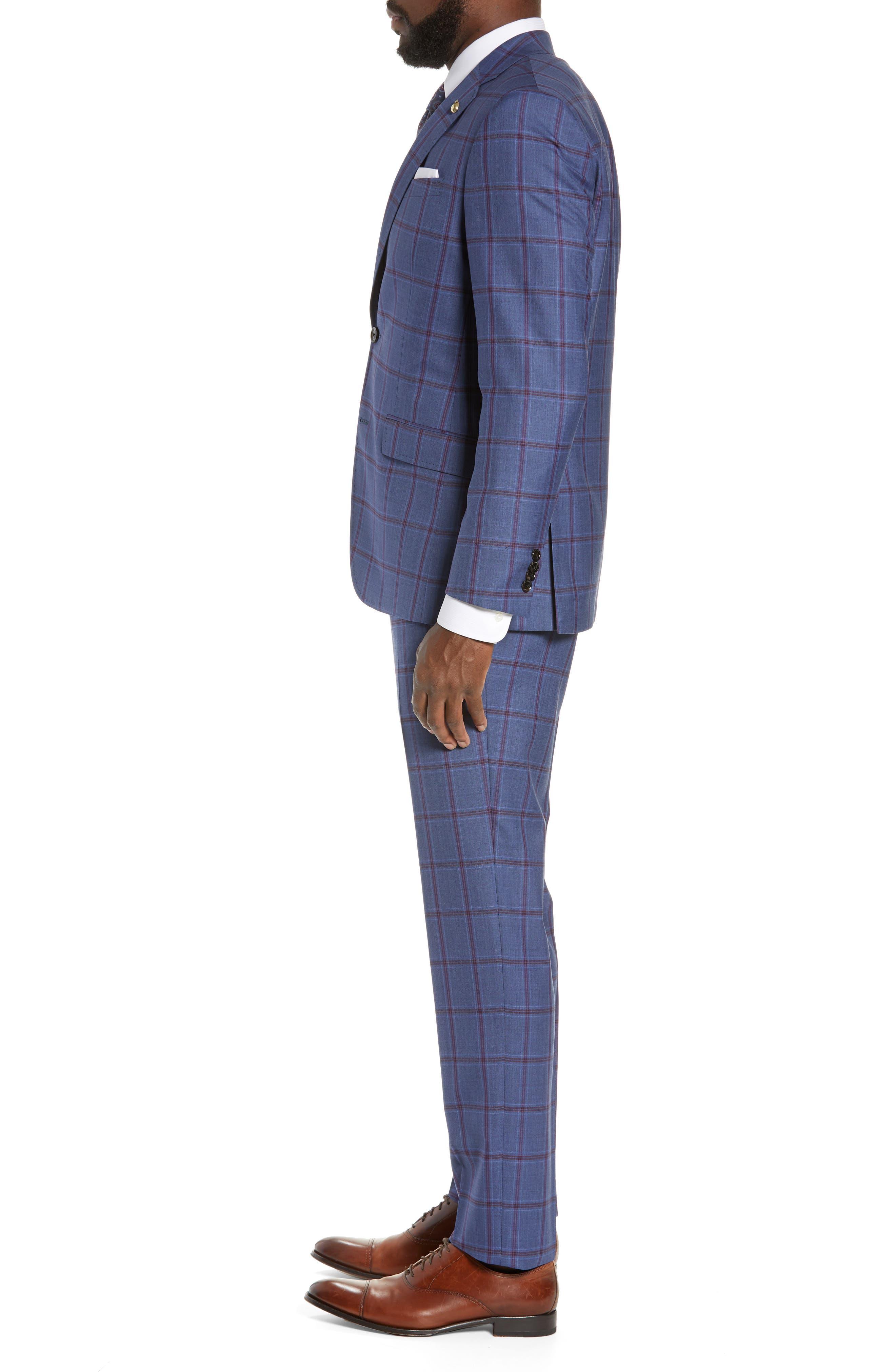 TED BAKER LONDON, Jay Trim Fit Windowpane Suit, Alternate thumbnail 3, color, BLUE