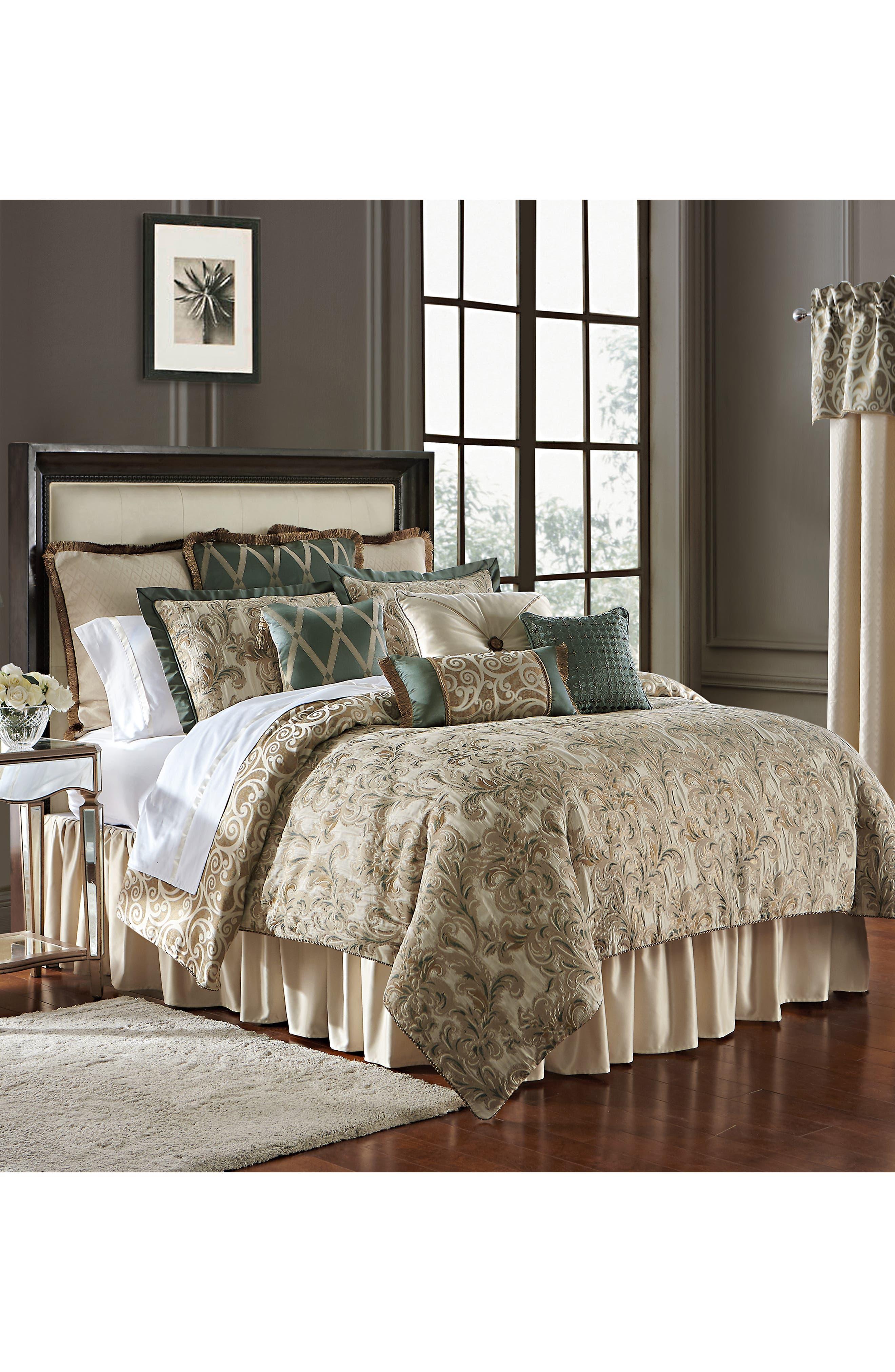 WATERFORD, Anora Comforter, Sham & Bed Skirt Set, Alternate thumbnail 3, color, BRASS/ JADE