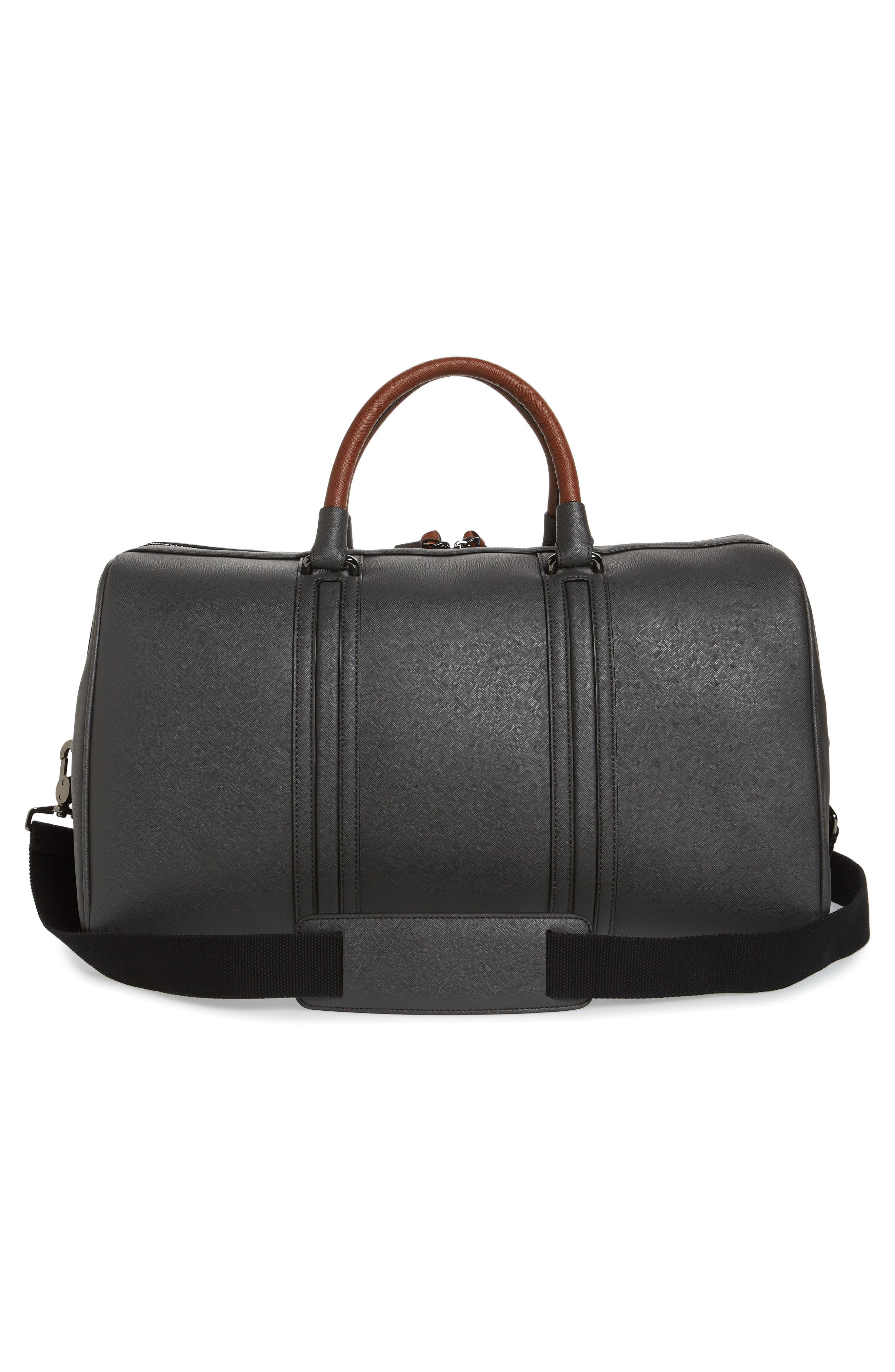 TED BAKER LONDON, Grankan Faux Leather Duffel Bag, Alternate thumbnail 3, color, 020
