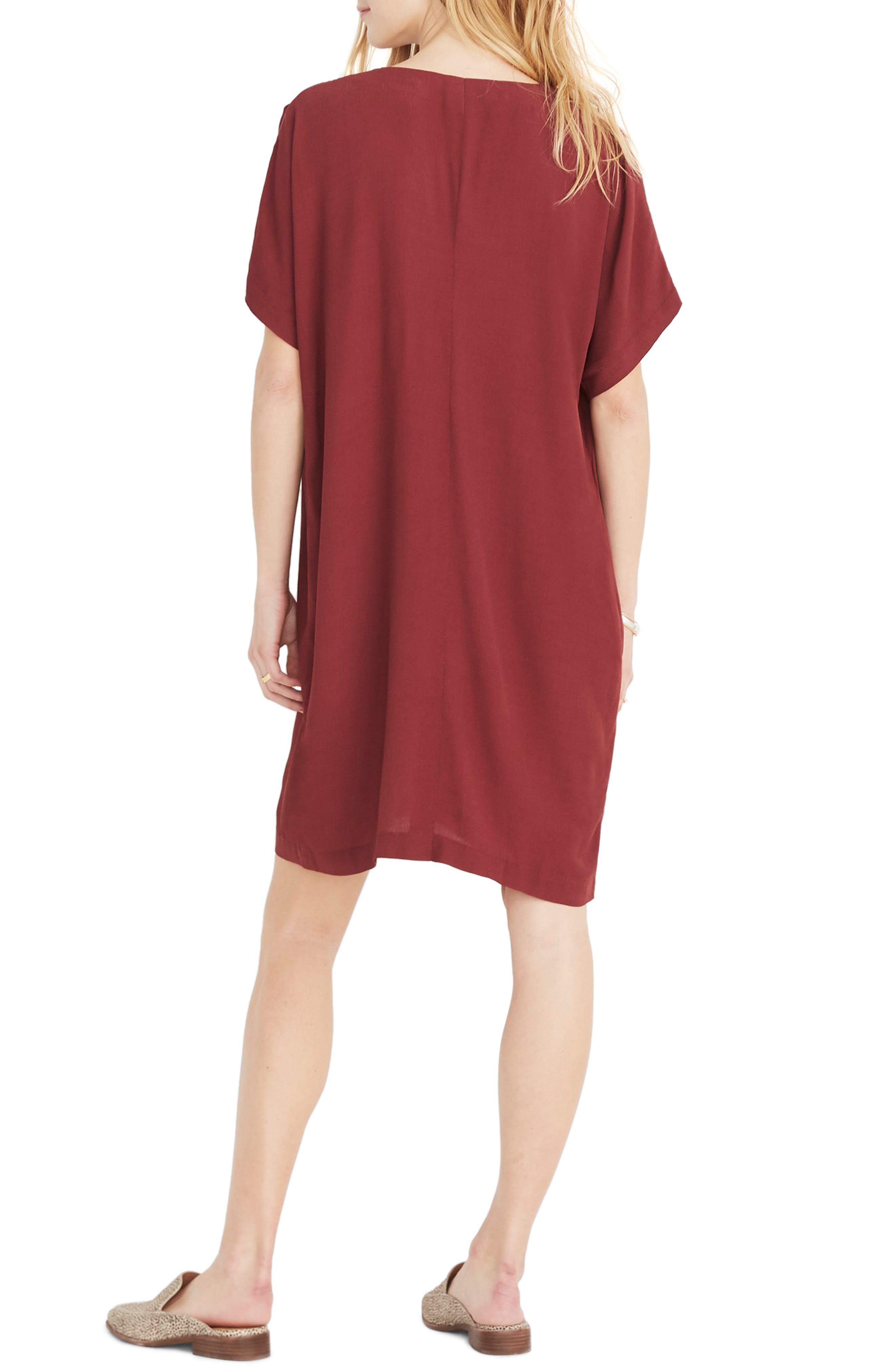 MADEWELL, Button Front Easy Dress, Alternate thumbnail 4, color, RICH BURGUNDY