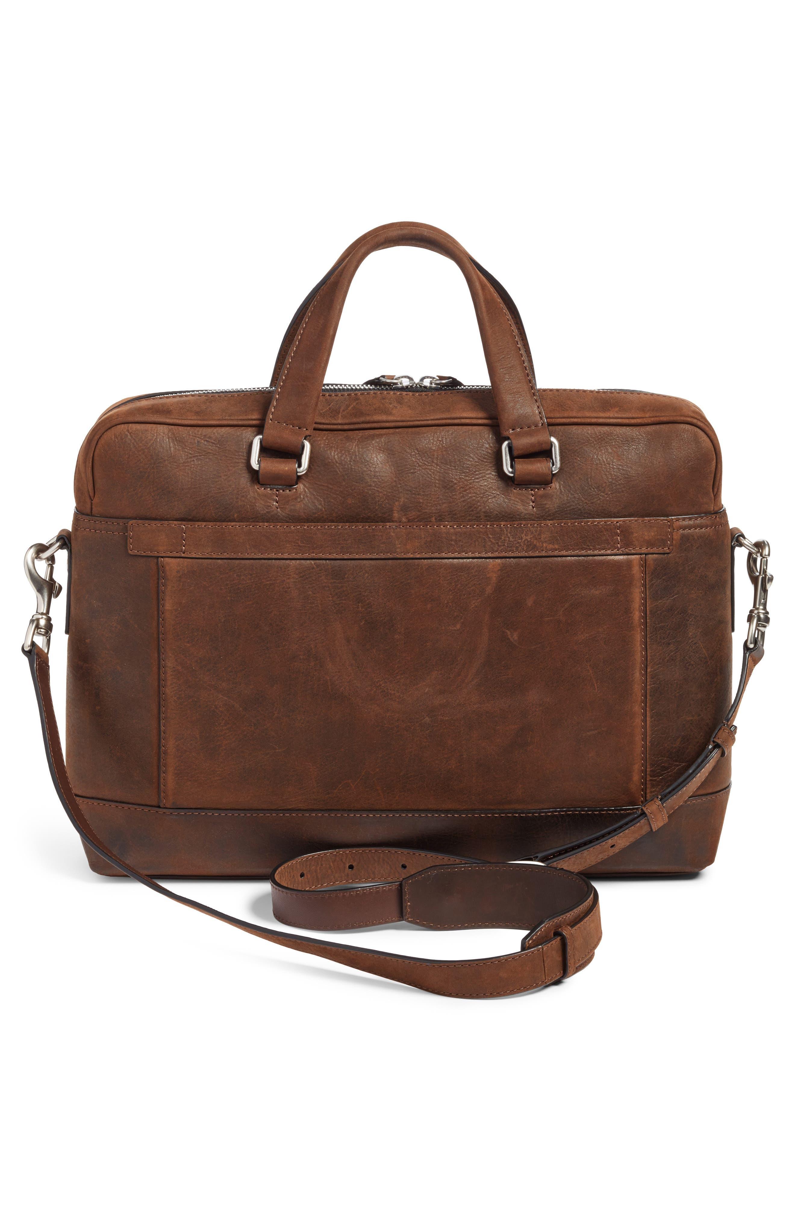 FRYE, Oliver Leather Briefcase, Alternate thumbnail 3, color, DARK BROWN
