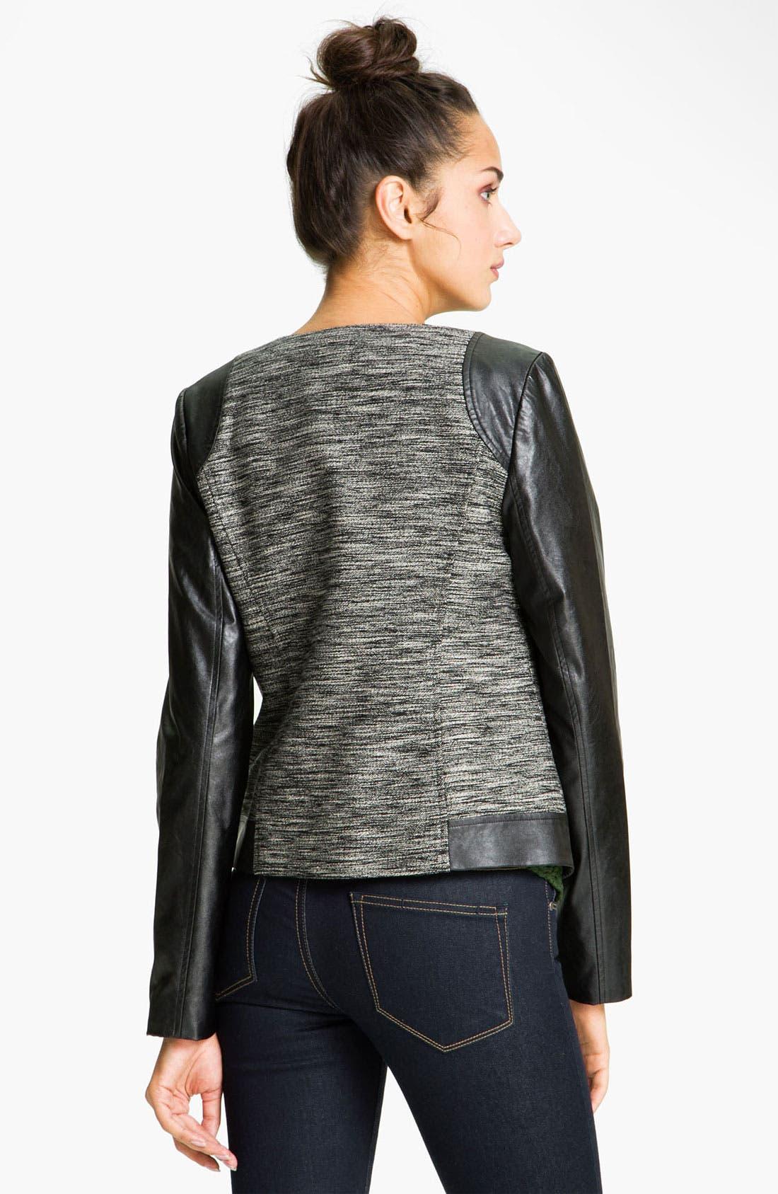 TROUVÉ, Faux Leather Sleeve Tweed Jacket, Alternate thumbnail 3, color, 001