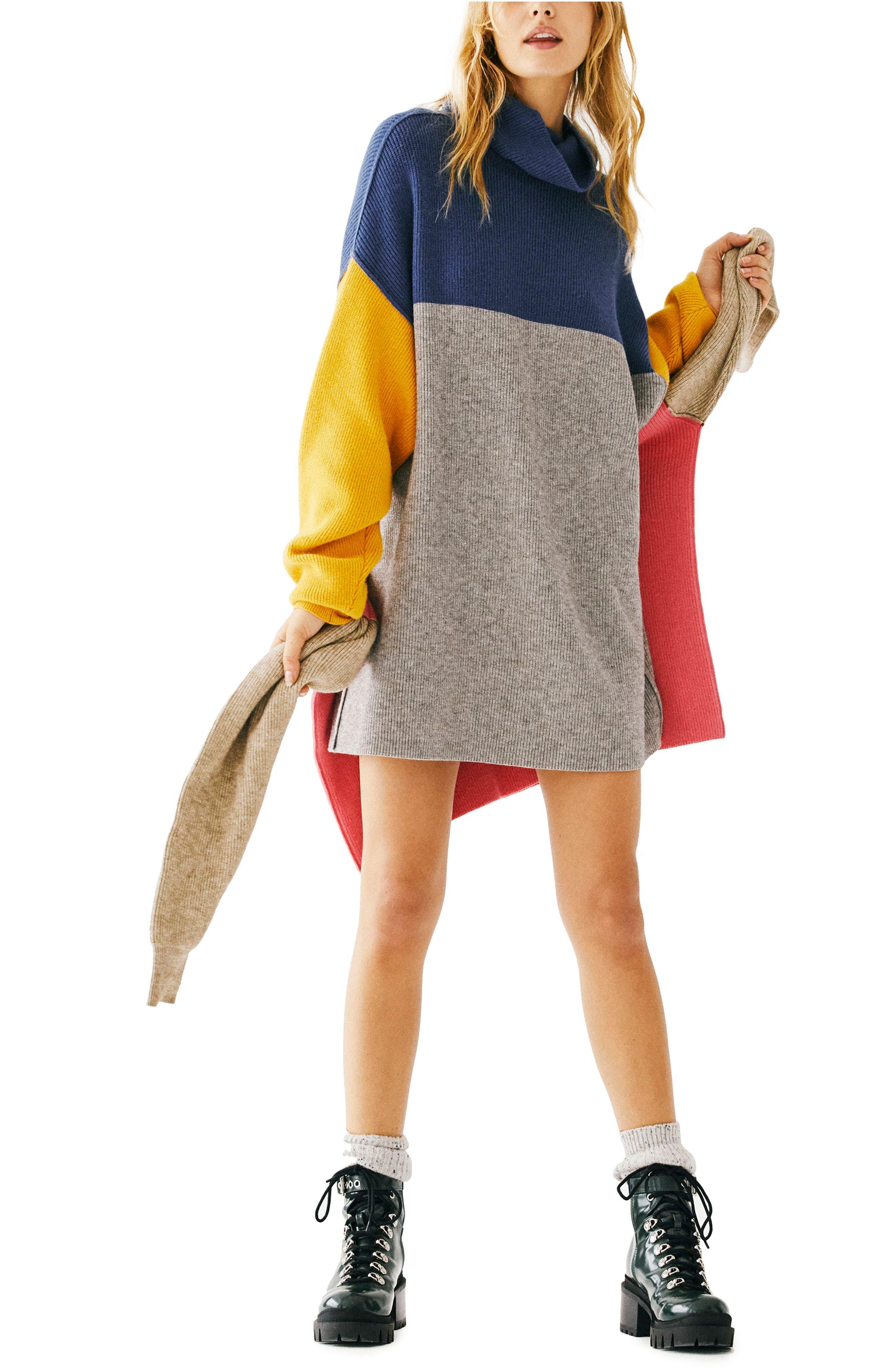 FREE PEOPLE, Colorblock Turtleneck Sweater, Alternate thumbnail 5, color, 400