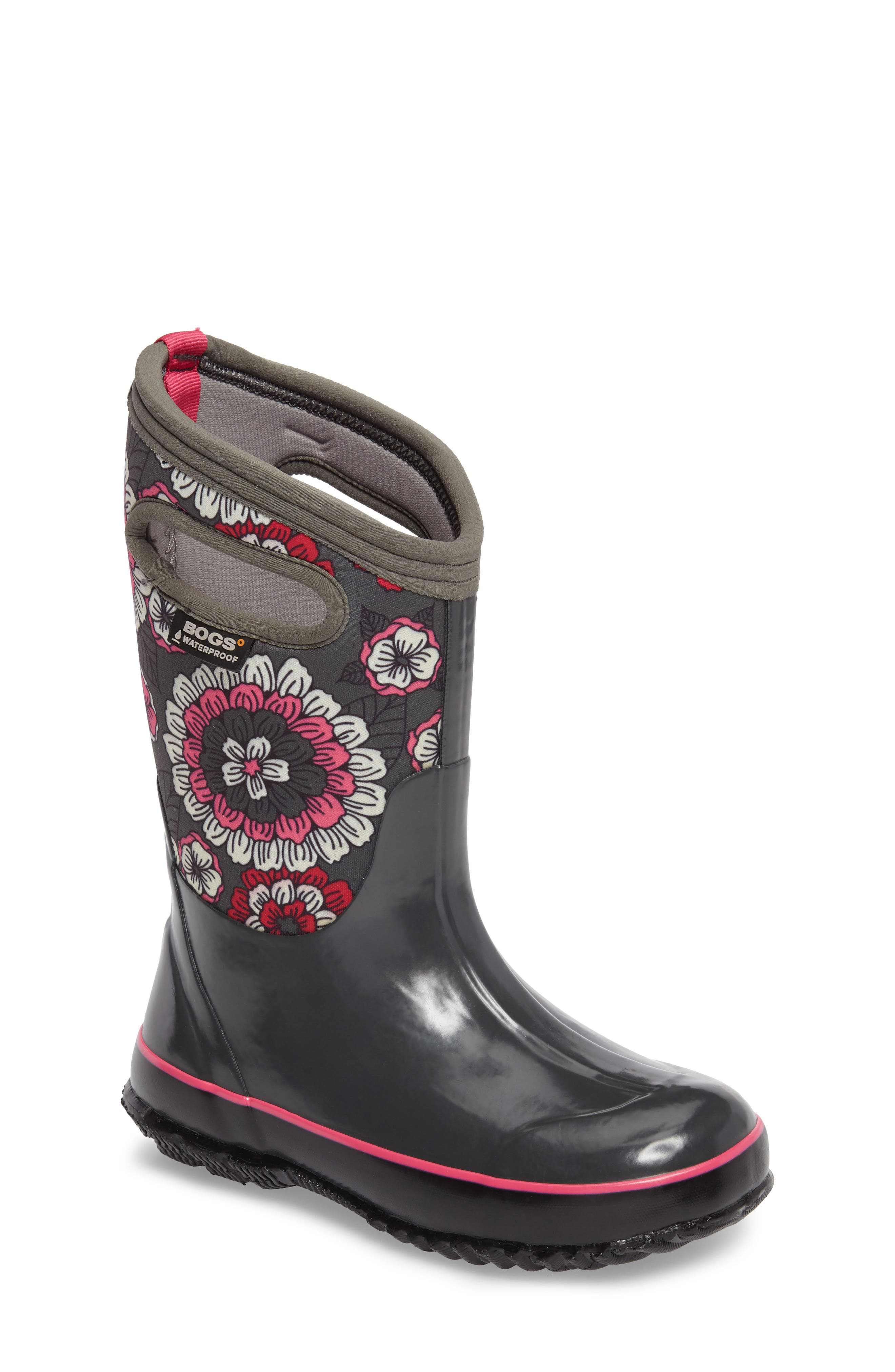 BOGS, Classic Pansies Insulated Waterproof Boot, Main thumbnail 1, color, DARK GRAY MULTI