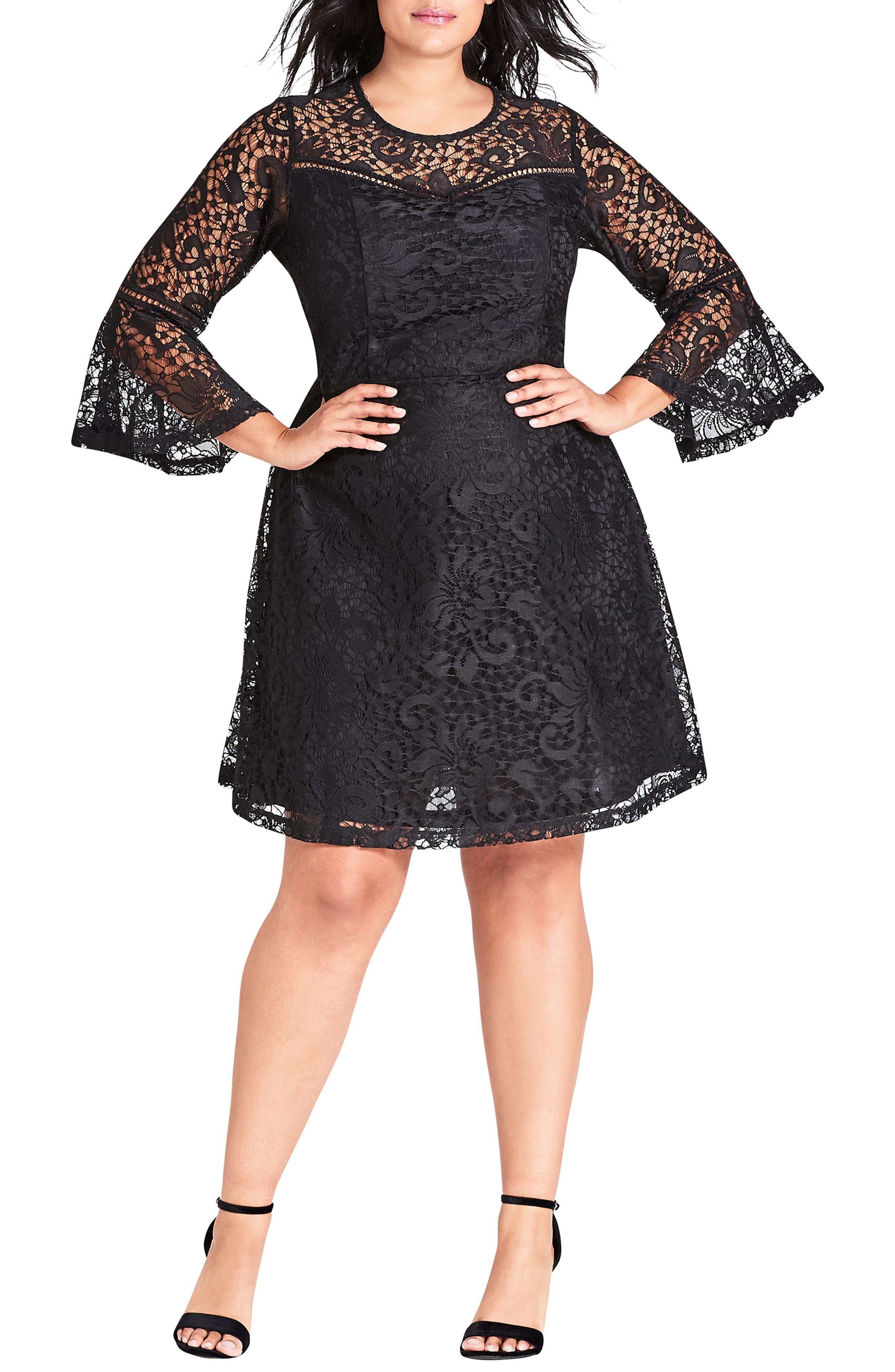 Plus Size City Chic Lace Fit & Flare Dress, Black