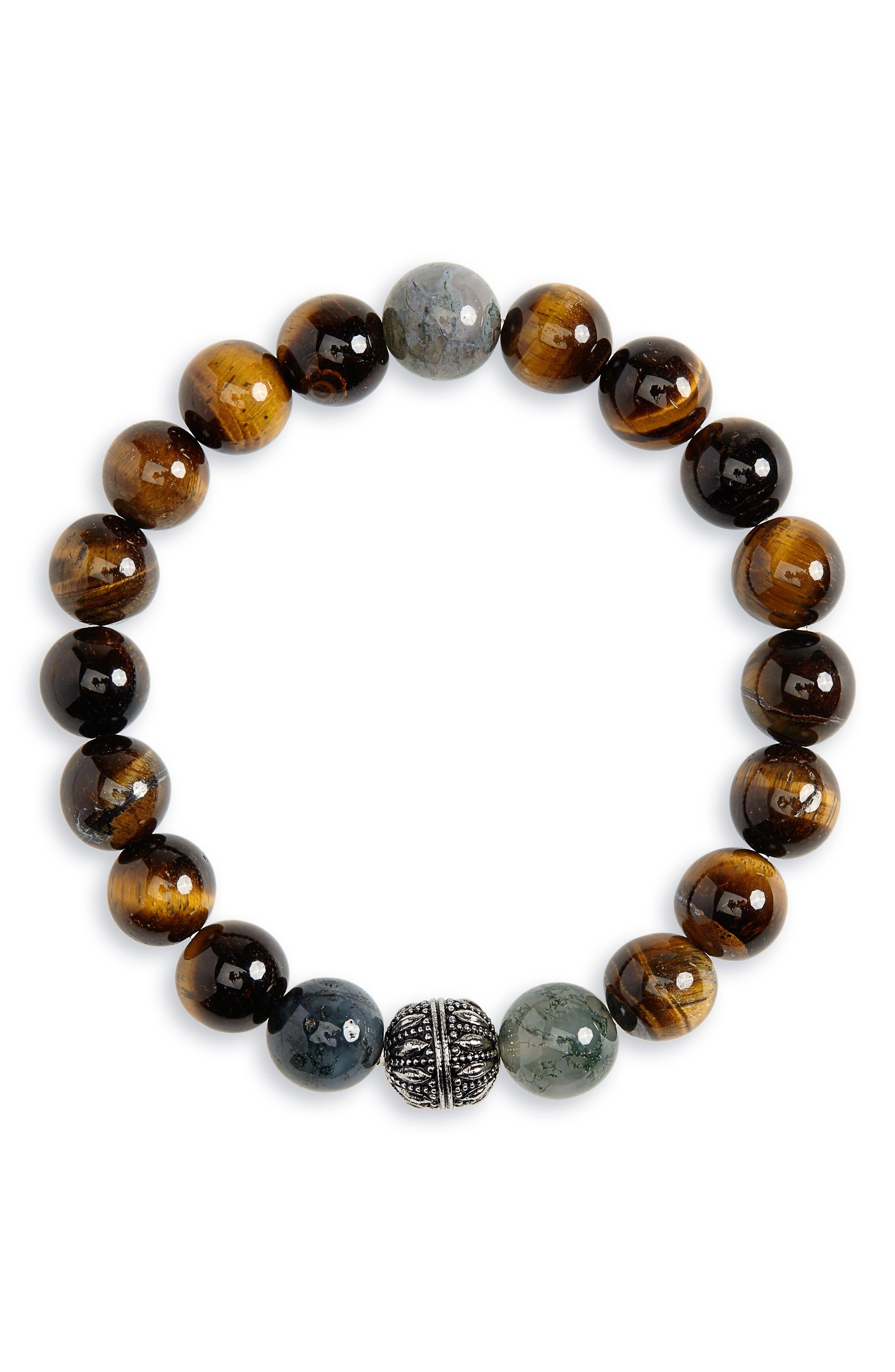 NORDSTROM MEN'S SHOP Beaded Bracelet, Main, color, 203