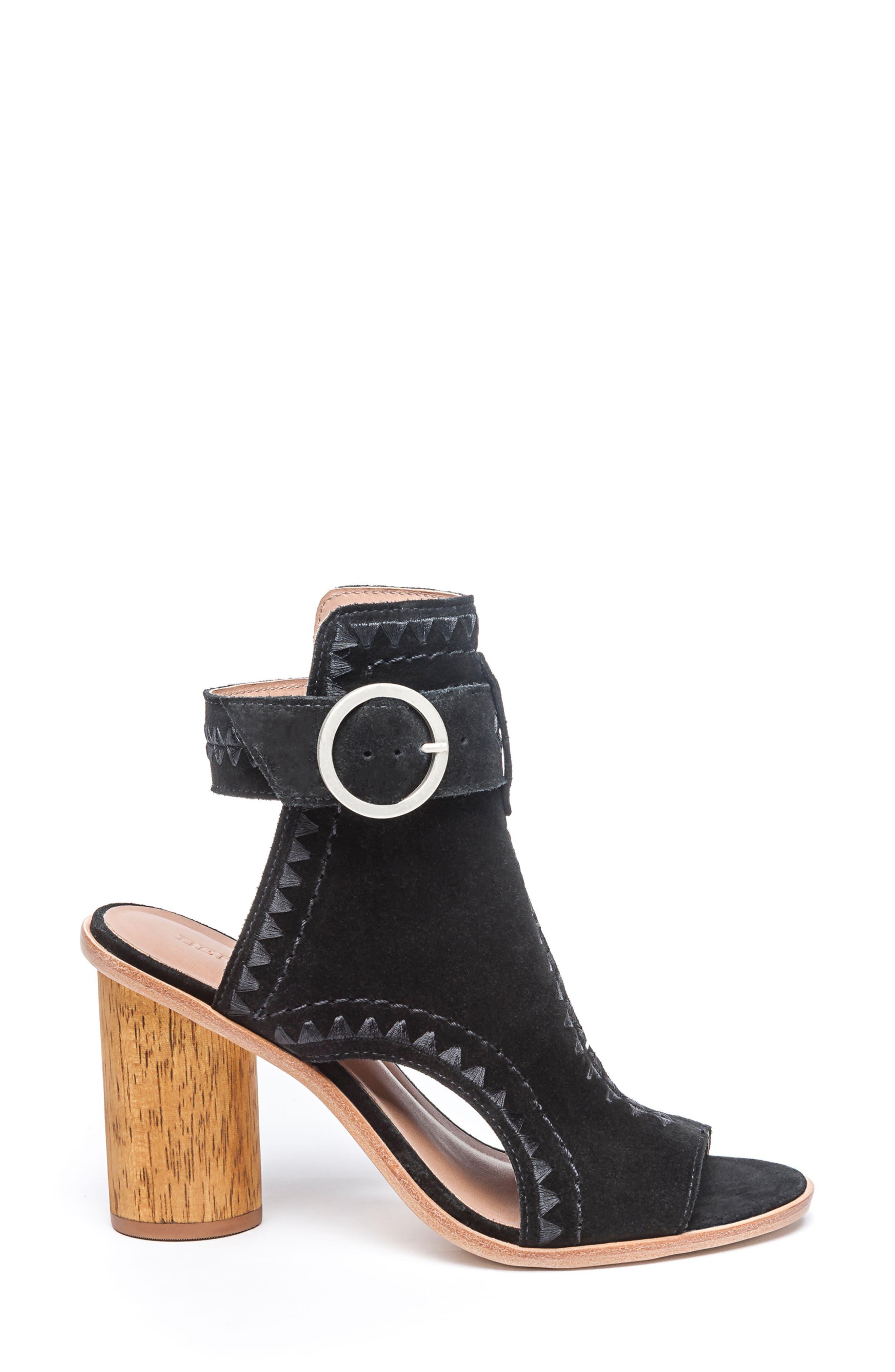 BERNARDO, Harper Embroidered Sandal, Alternate thumbnail 3, color, BLACK LEATHER