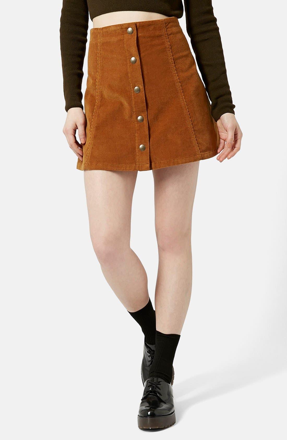 TOPSHOP, A-Line Corduroy Skirt, Main thumbnail 1, color, 210