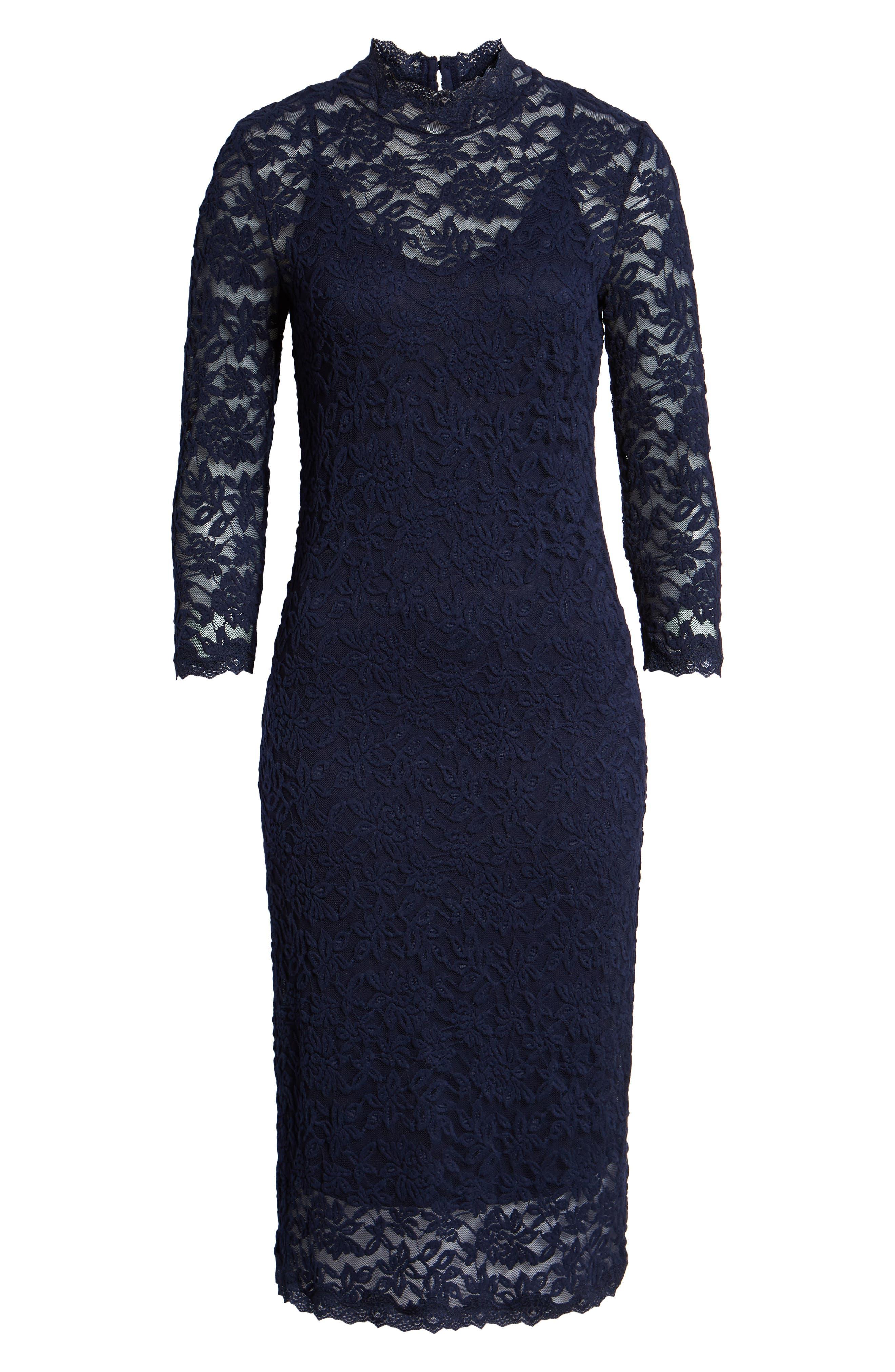 ROSEMUNDE, Delicia Lace Body-Con Dress, Alternate thumbnail 7, color, MARITIME BLUE