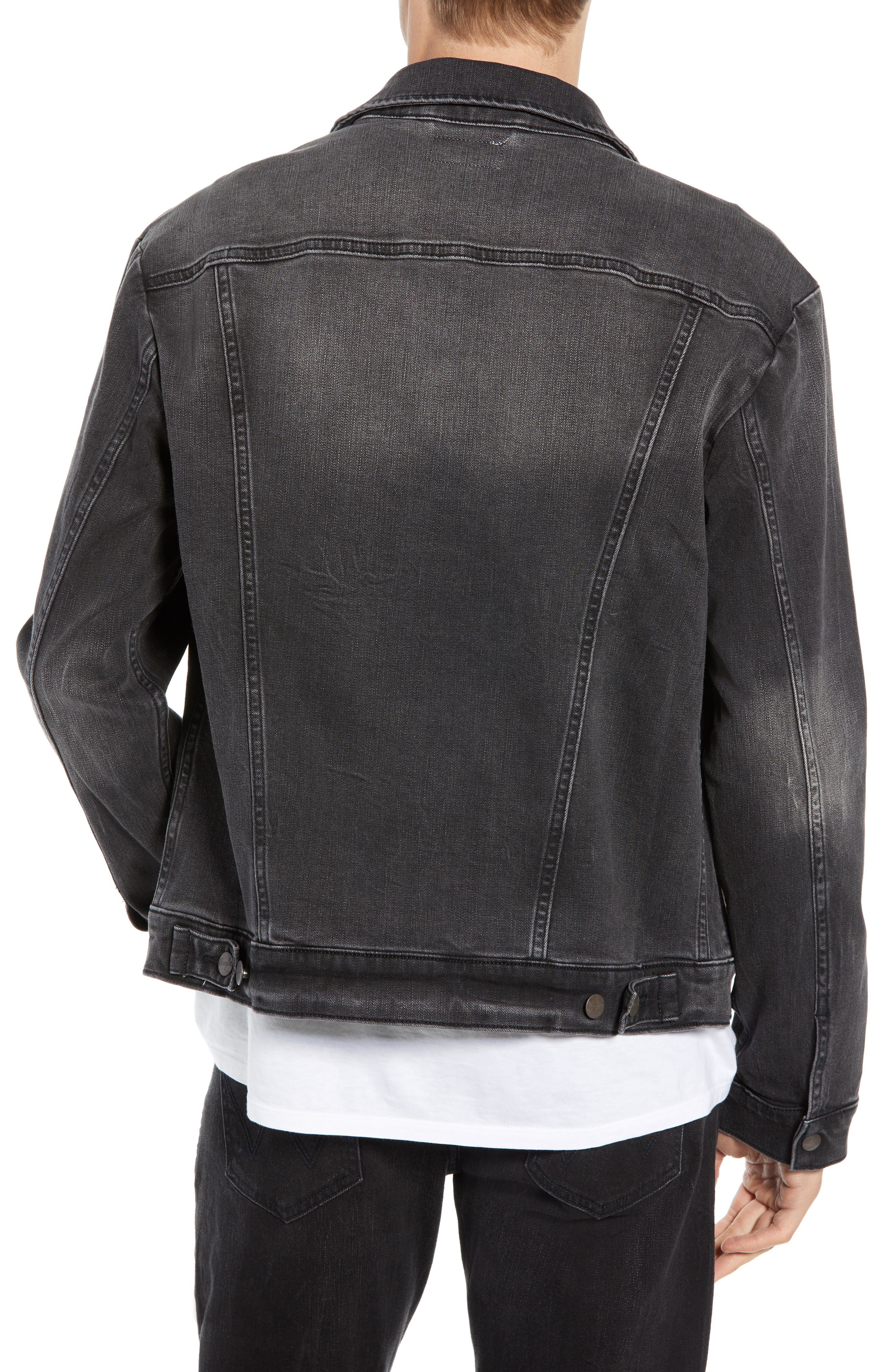 WRANGLER, Heritage Pleated Denim Jacket, Alternate thumbnail 2, color, 020