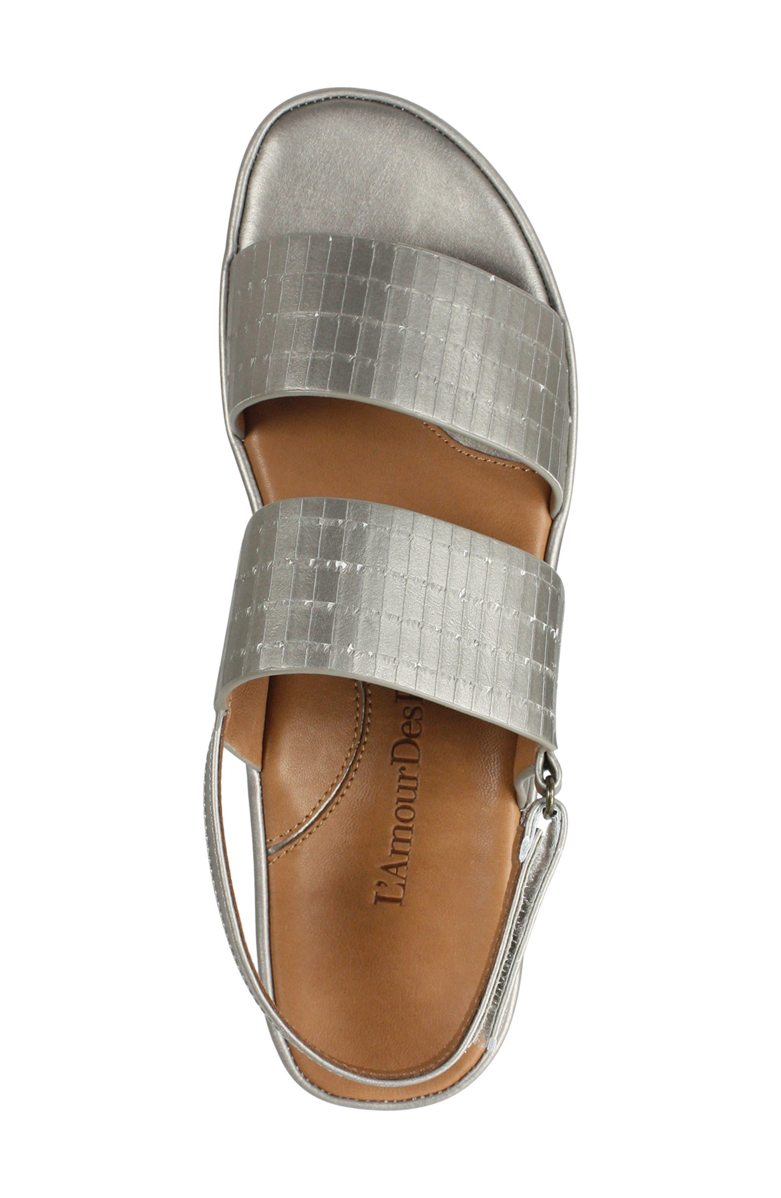 L'AMOUR DES PIEDS, Abruzzo Slingback Platform Wedge Sandal, Alternate thumbnail 4, color, PEARLIZED PLATINUM LEATHER