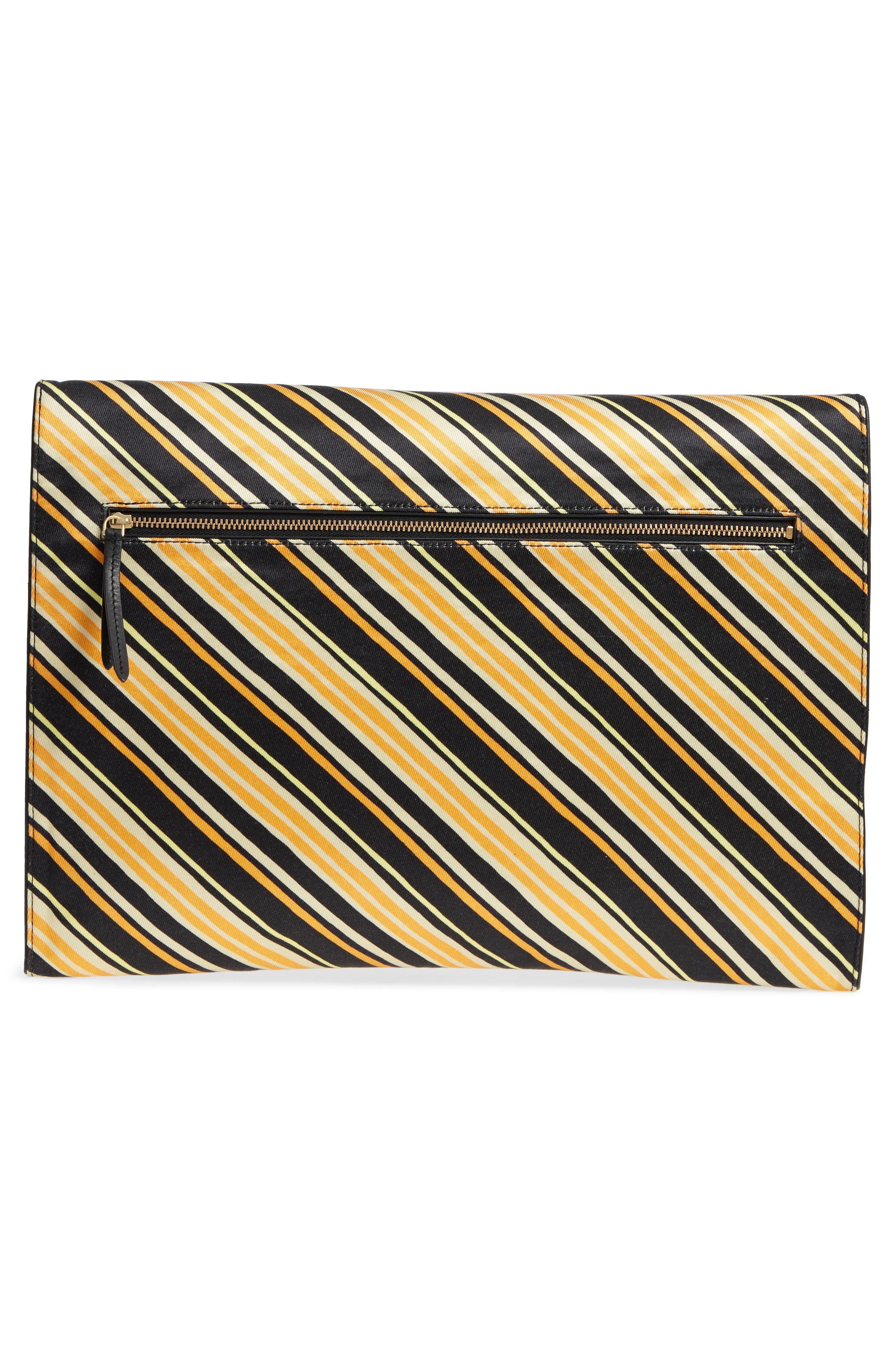DRIES VAN NOTEN, Stripe Canvas Large Canvas Envelope Clutch, Alternate thumbnail 3, color, 001