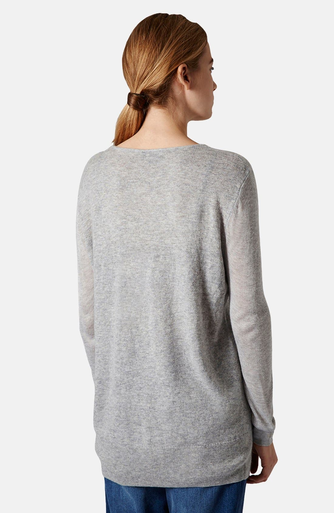 TOPSHOP, Sheer Sleeve Tunic Sweater, Alternate thumbnail 3, color, 050