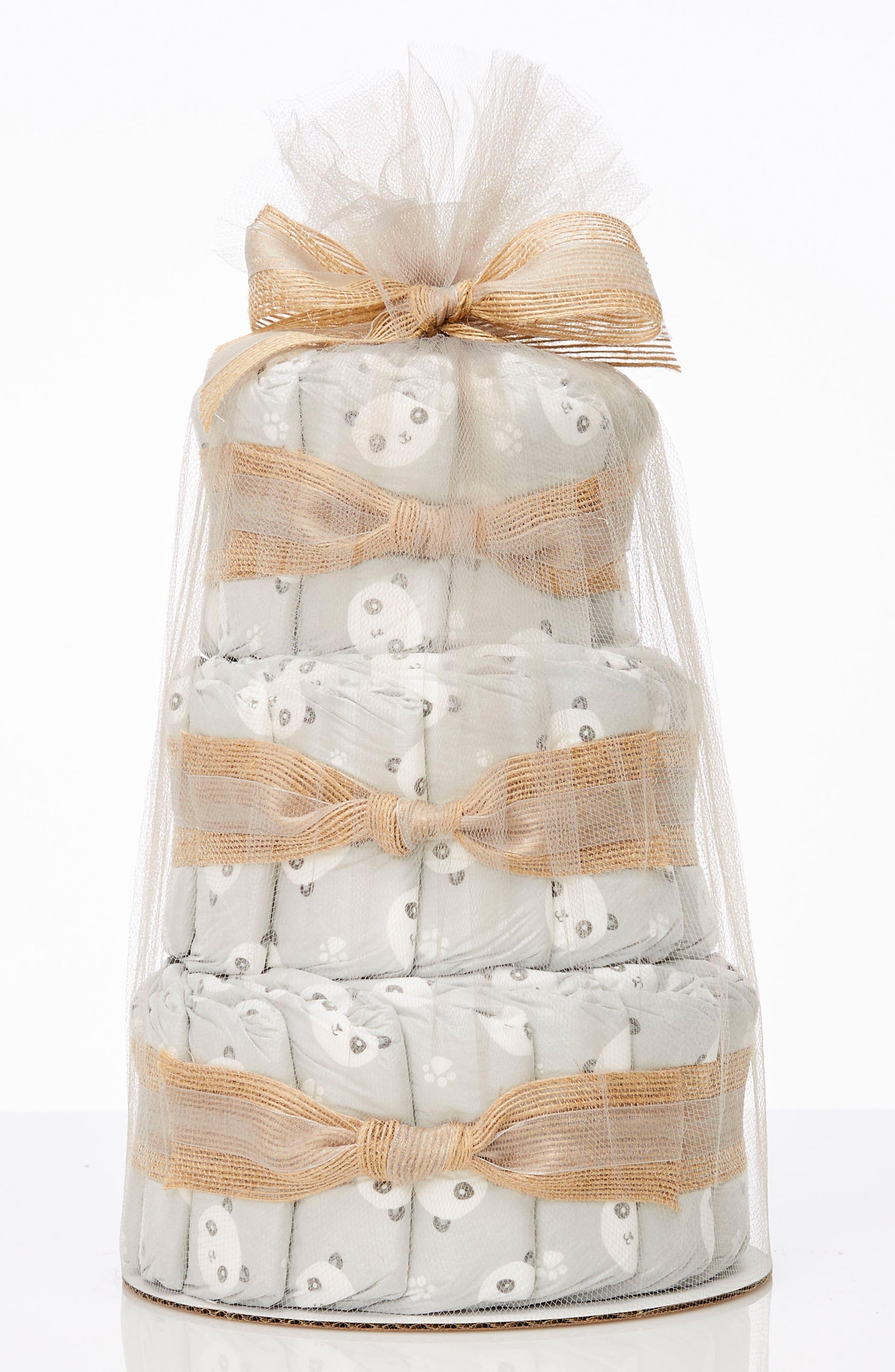 THE HONEST COMPANY, Mini Diaper Cake & Travel-Size Essentials Set, Main thumbnail 1, color, PANDAS
