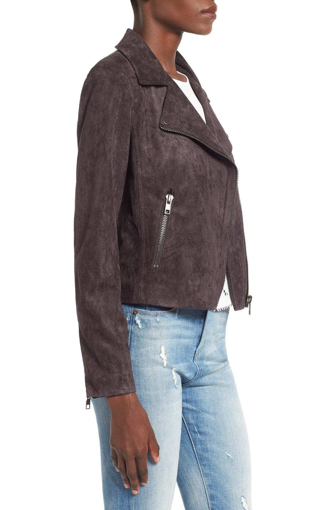 ASTR THE LABEL, ASTR Faux Suede Moto Jacket, Alternate thumbnail 3, color, 020