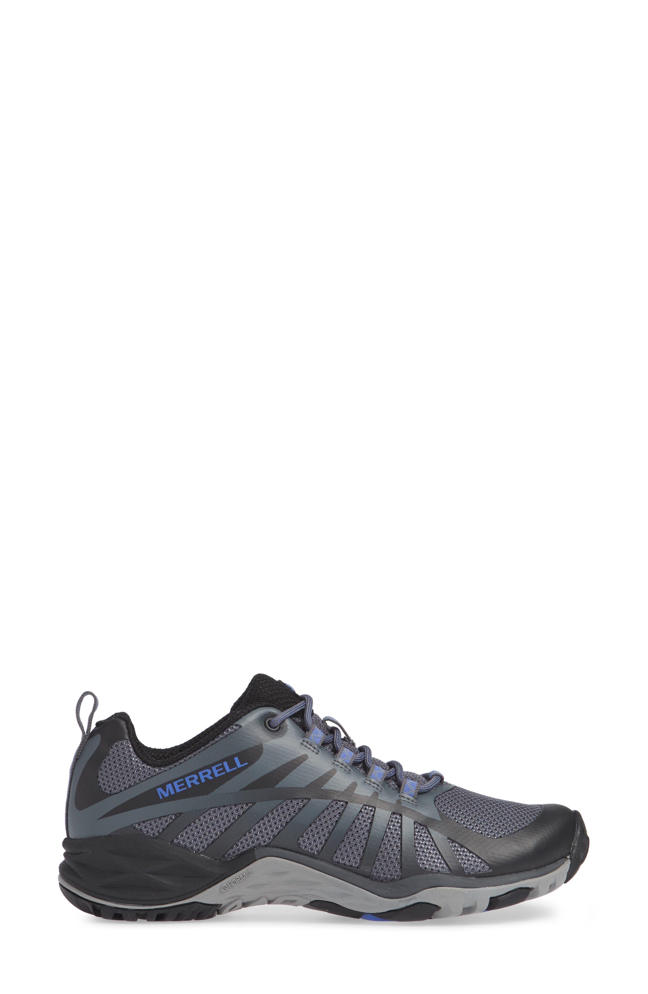 MERRELL, Siren Edge Q2 Hiking Shoe, Alternate thumbnail 3, color, BLACK FABRIC