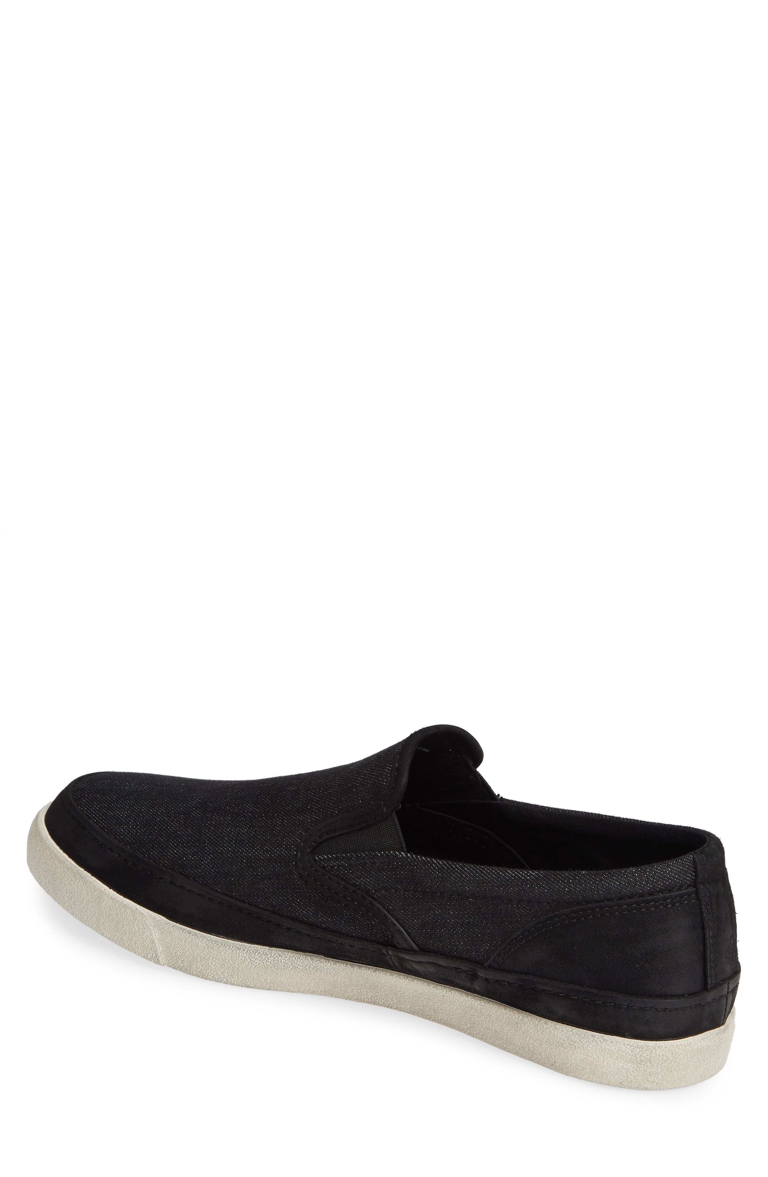 JOHN VARVATOS STAR USA, Jet Canvas Slip-On Sneaker, Alternate thumbnail 2, color, MINERAL BLK