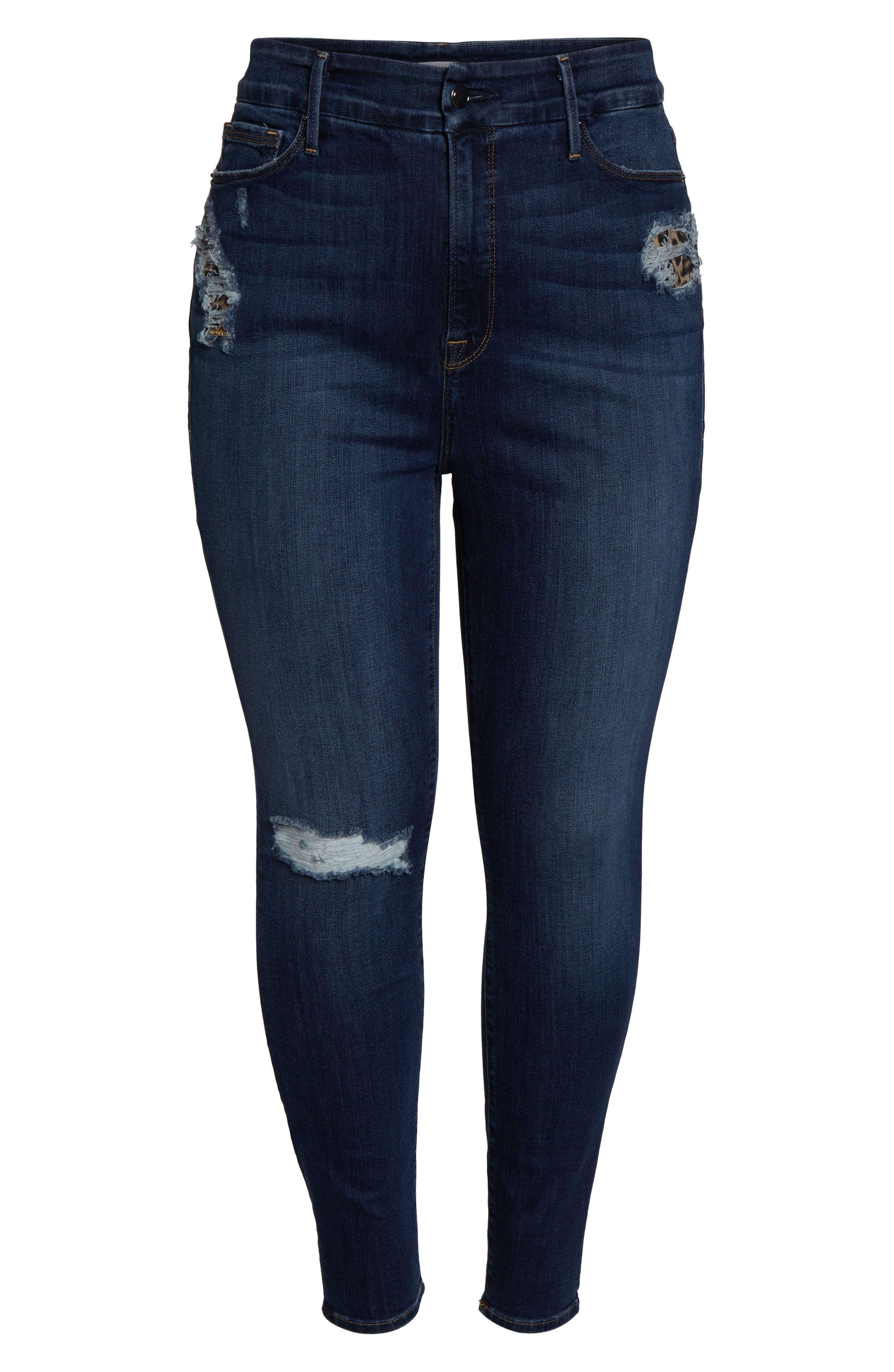 GOOD AMERICAN, Good Legs Cheetah Pockets High Waist Jeans, Alternate thumbnail 6, color, BLUE203