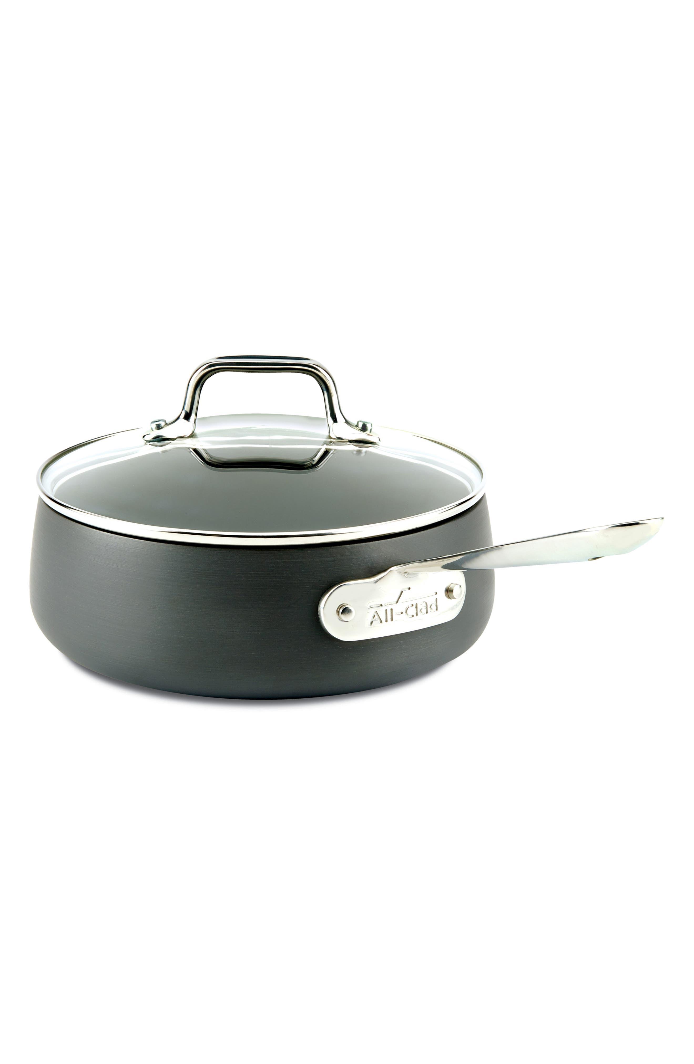 ALL-CLAD, HA1 2.5-Quart Saucepan with Lid, Main thumbnail 1, color, BLACK