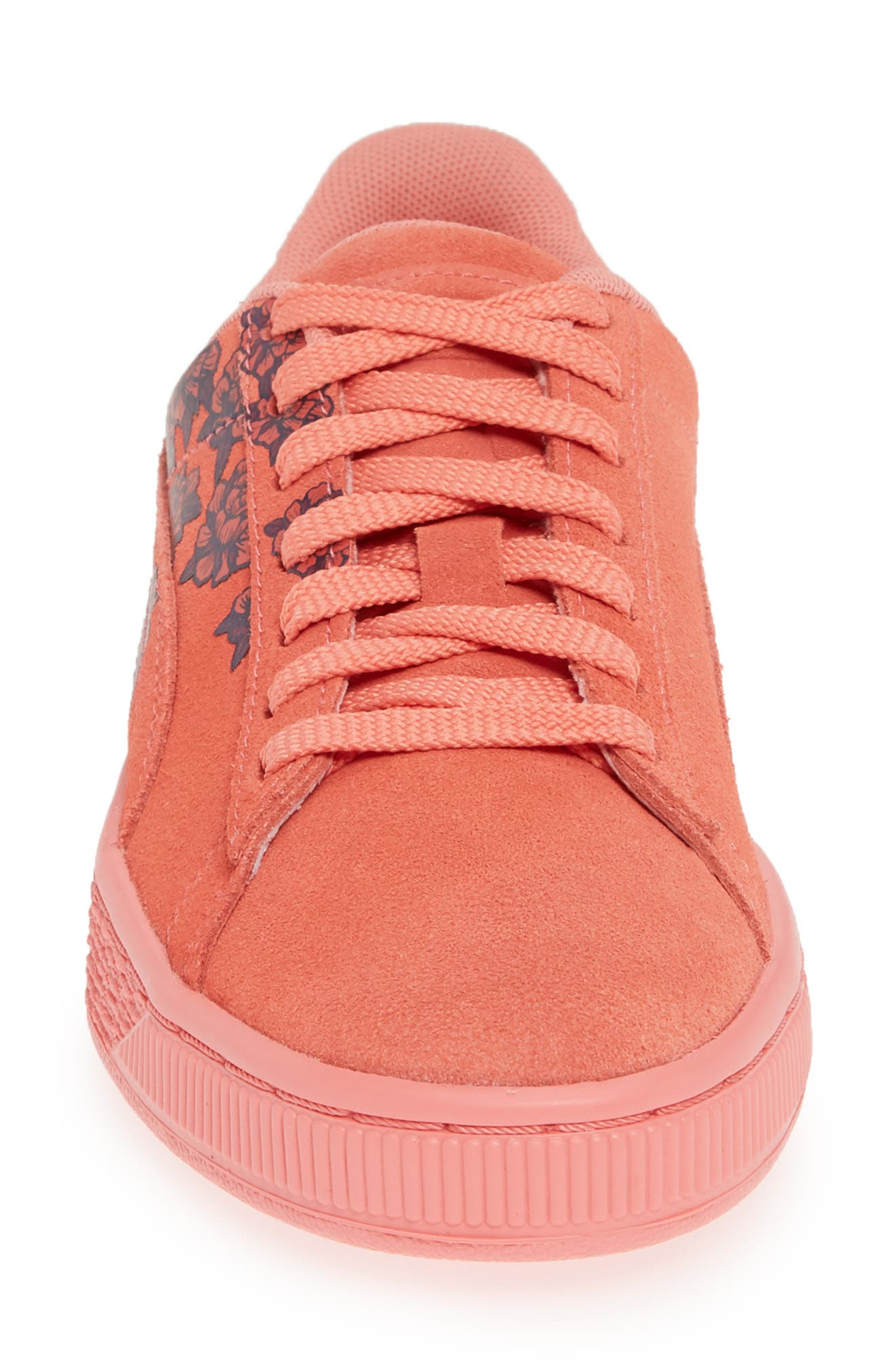 PUMA, Suede TOL Graphic Sneaker, Alternate thumbnail 4, color, SHELL PINK