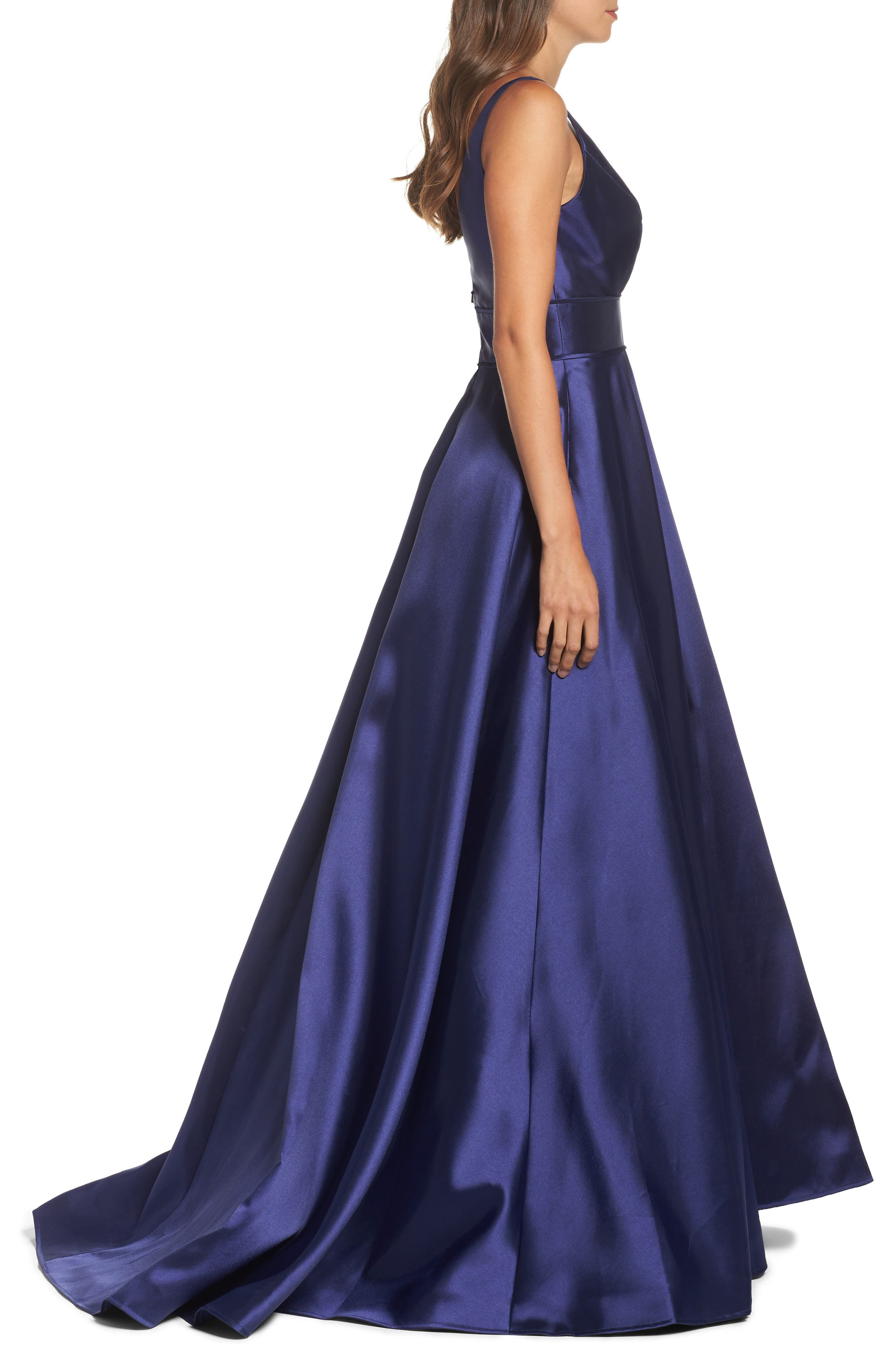 IEENA FOR MAC DUGGAL, Plunging Sweetheart Neck Ballgown, Alternate thumbnail 3, color, NAVY