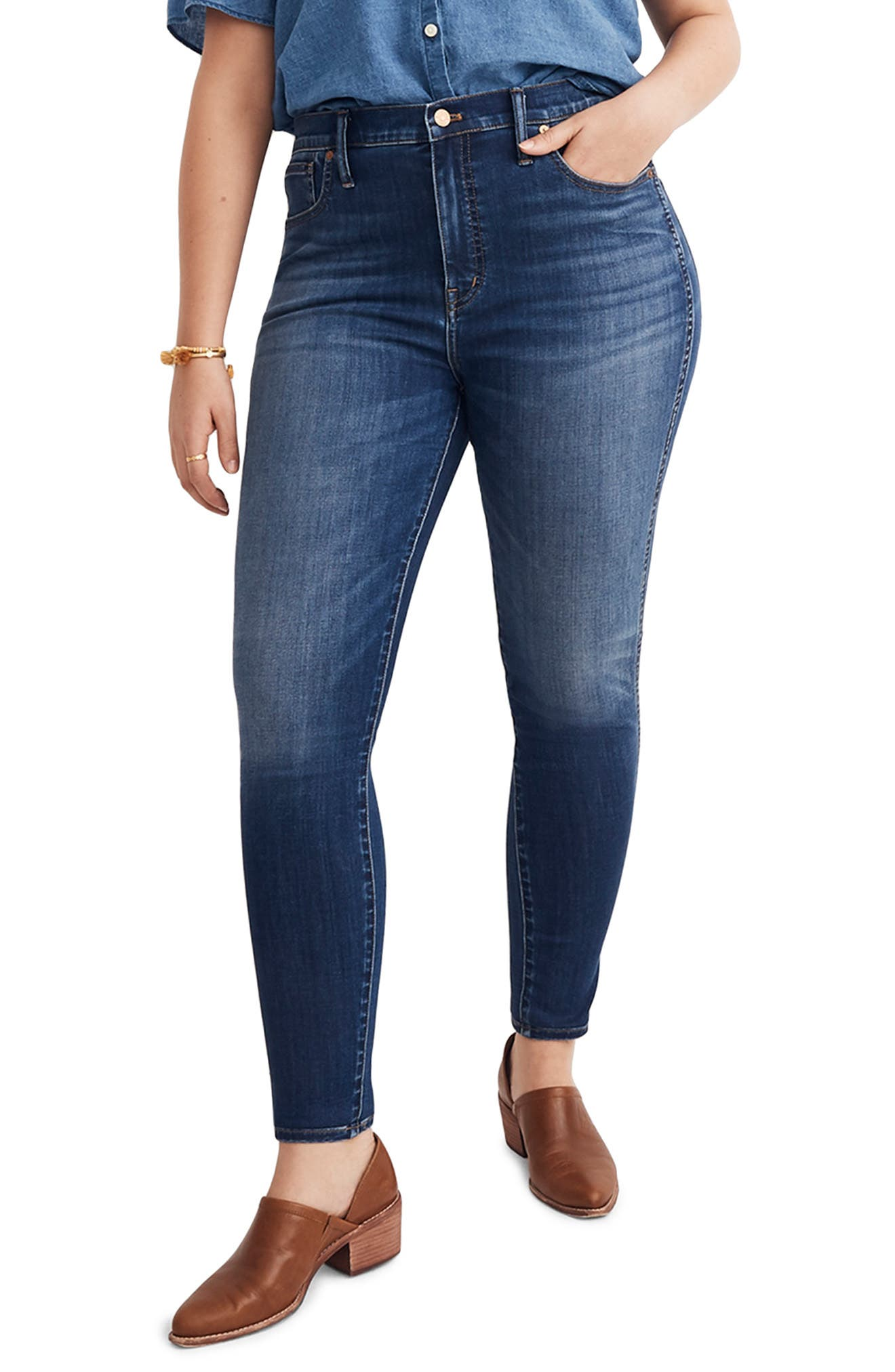MADEWELL, 10-Inch High Rise Skinny Jeans, Alternate thumbnail 2, color, DANNY