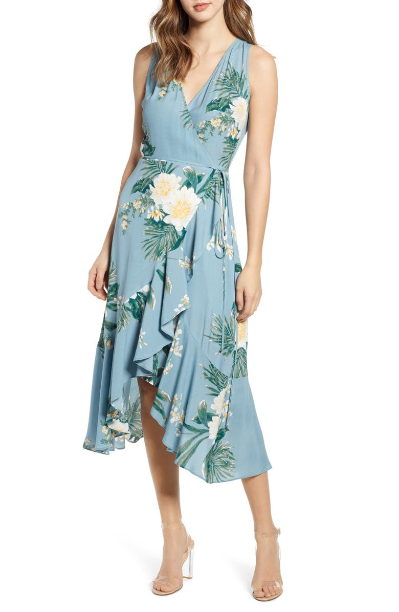 LEITH Flounce Wrap Midi Dress, Main, color, BLUE SMOKE ILLUSTRATED FLORAL