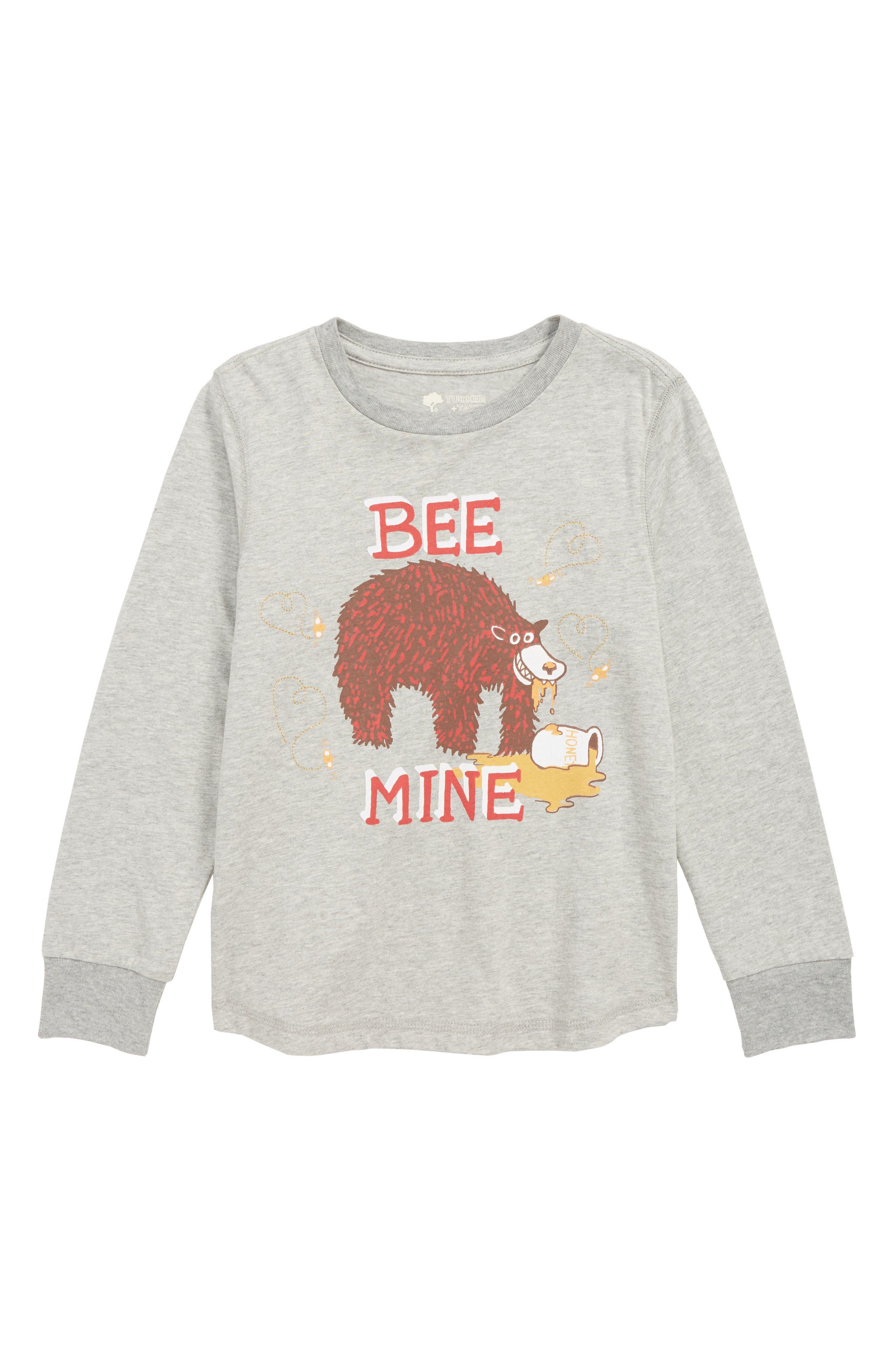 TUCKER + TATE, Graphic T-Shirt, Main thumbnail 1, color, GREY MEDIUM HEATHER BEE MINE