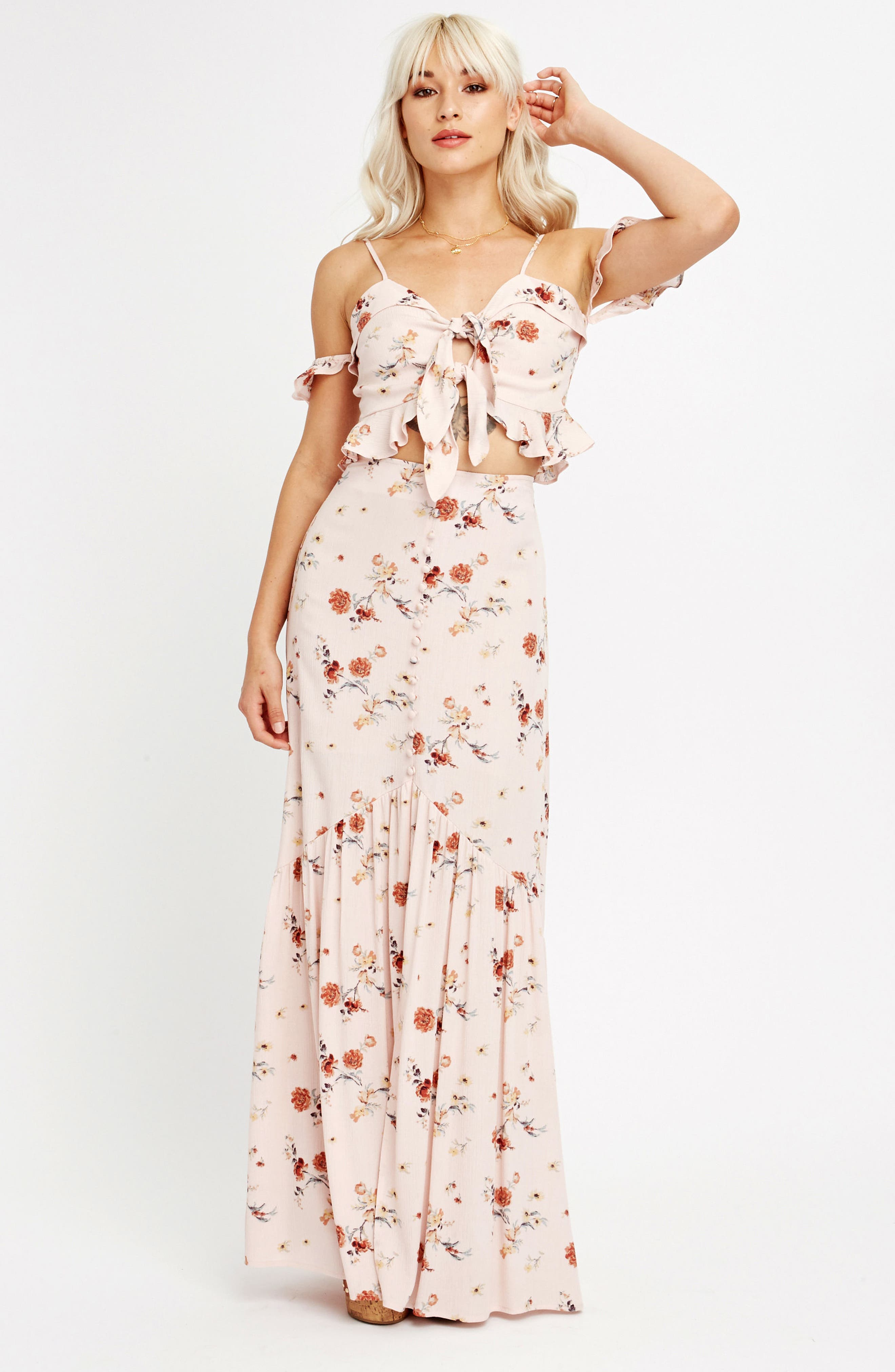 LOST + WANDER, Rosa Floral Maxi Skirt, Alternate thumbnail 8, color, 650